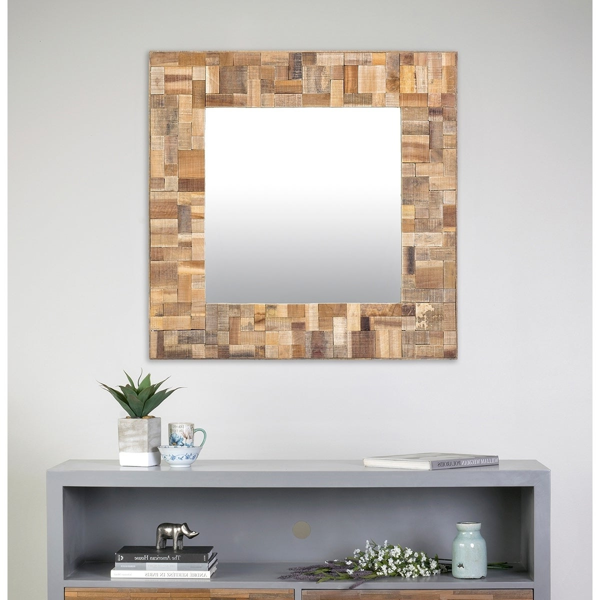 Dandre Wall Mirrors Intended For Preferred East At Main's Decorative Square Sutherlin Accent Mirror – Brown (View 5 of 20)