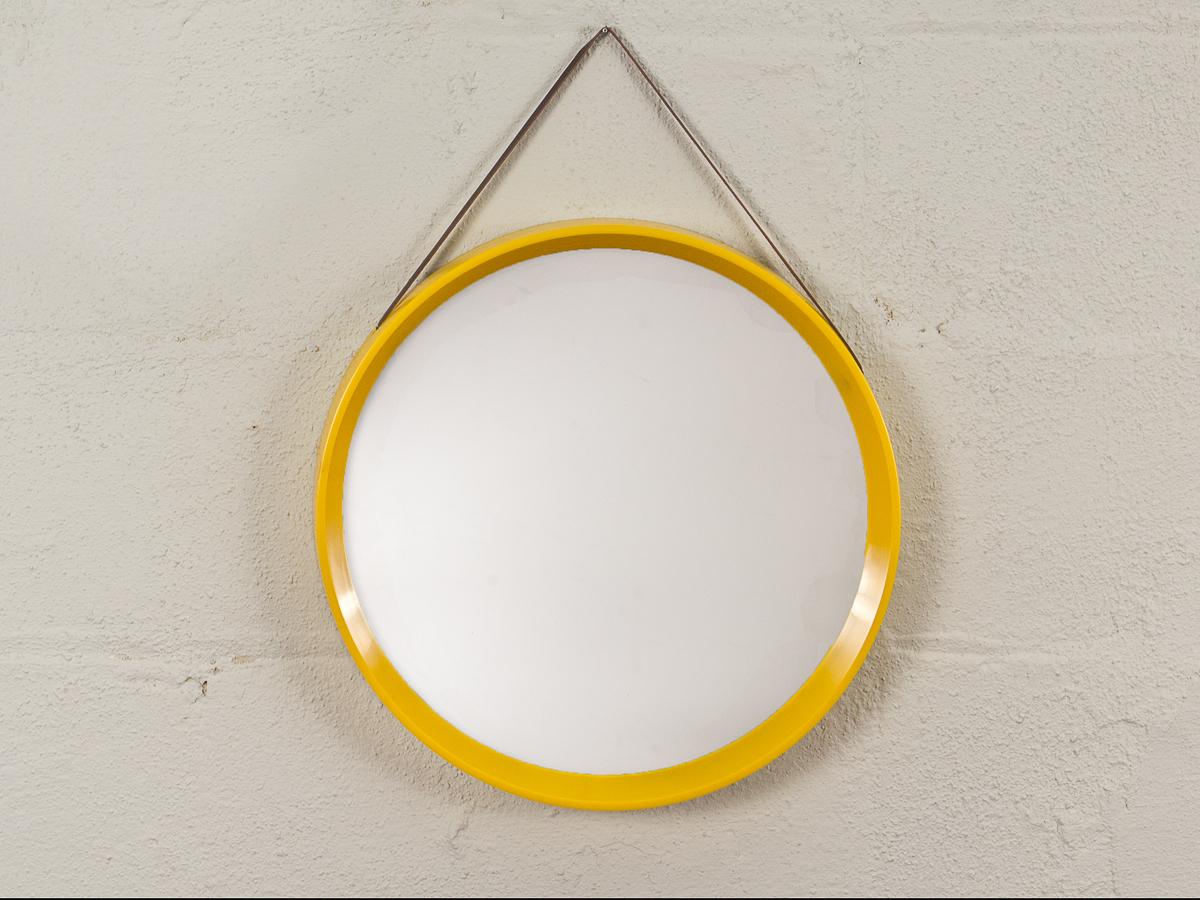 Danish Modern Yellow Circular Wall Mirror — Oam Regarding Latest Yellow Wall Mirrors (View 15 of 20)