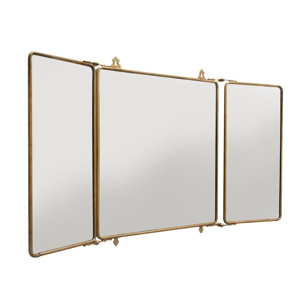 Daphne Metal Rectangular Wall Mounted Trifold Mirror 42 3/8 Regarding Popular Tri Fold Bathroom Wall Mirrors (View 2 of 20)