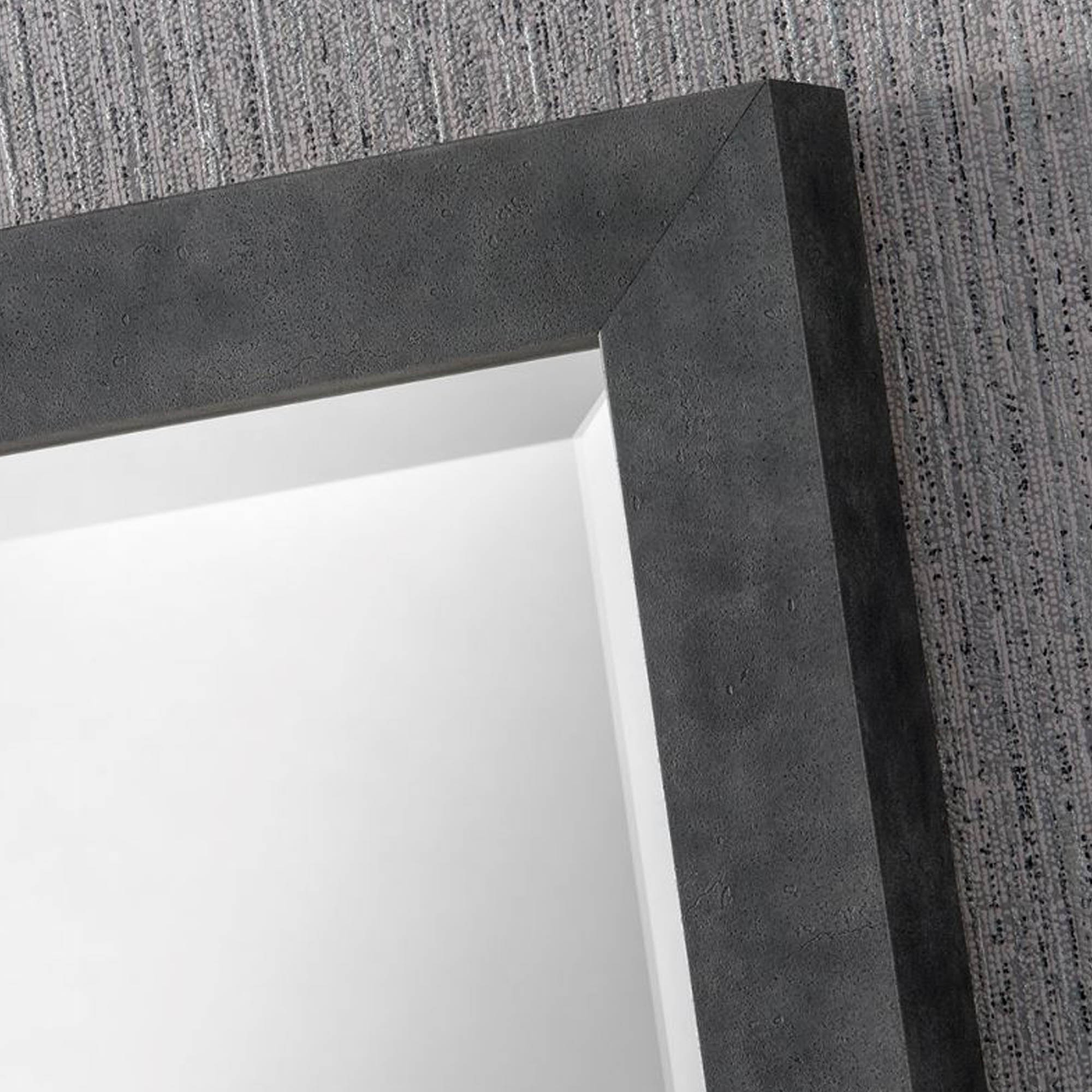 Dark Concrete Rectangular Wall Mirror In Most Current Dark Wood Wall Mirrors (View 3 of 20)