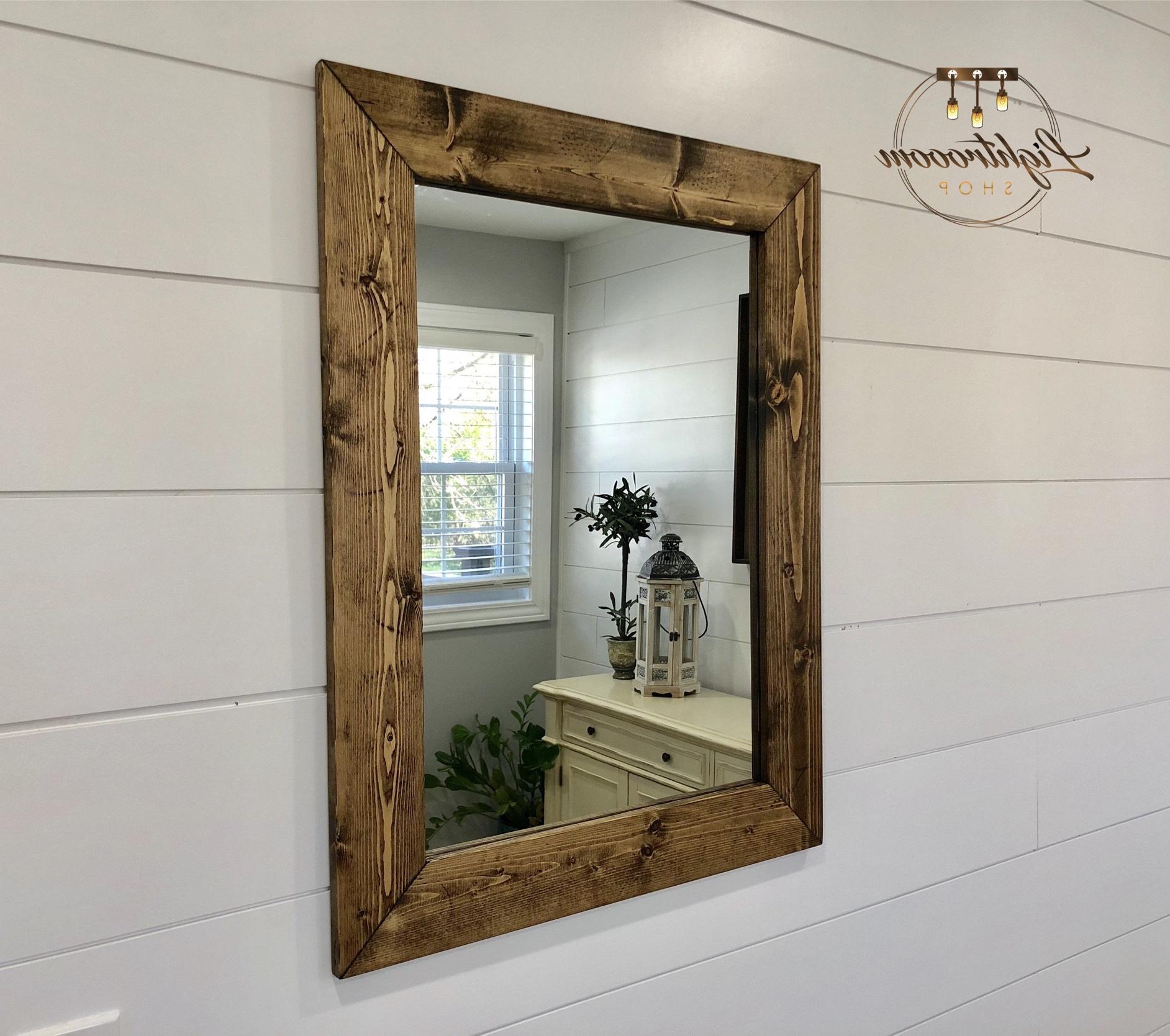 Dark Walnut Mirror, Wood Frame Mirror, Handmade Rustic Wood Mirror, Bathroom Mirror, Framed Wall Mirror, Vanity Mirror, Large Mirror, Modern In Latest Framed Wall Mirrors (View 20 of 20)