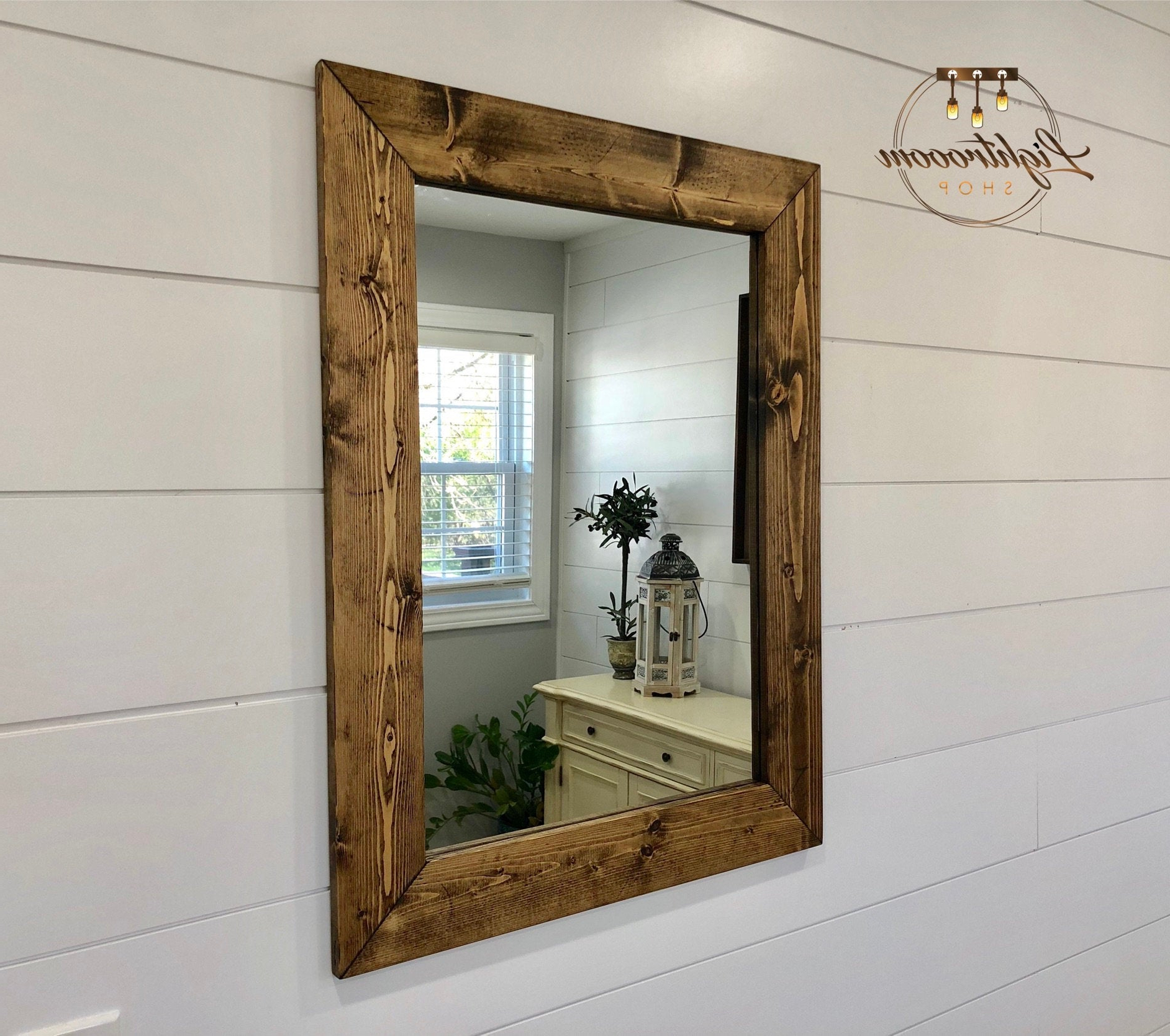 Dark Walnut Mirror, Wood Frame Mirror, Handmade Rustic Wood Mirror, Bathroom Mirror, Framed Wall Mirror, Vanity Mirror, Large Mirror, Modern Inside Most Current Large Wood Framed Wall Mirrors (View 10 of 20)