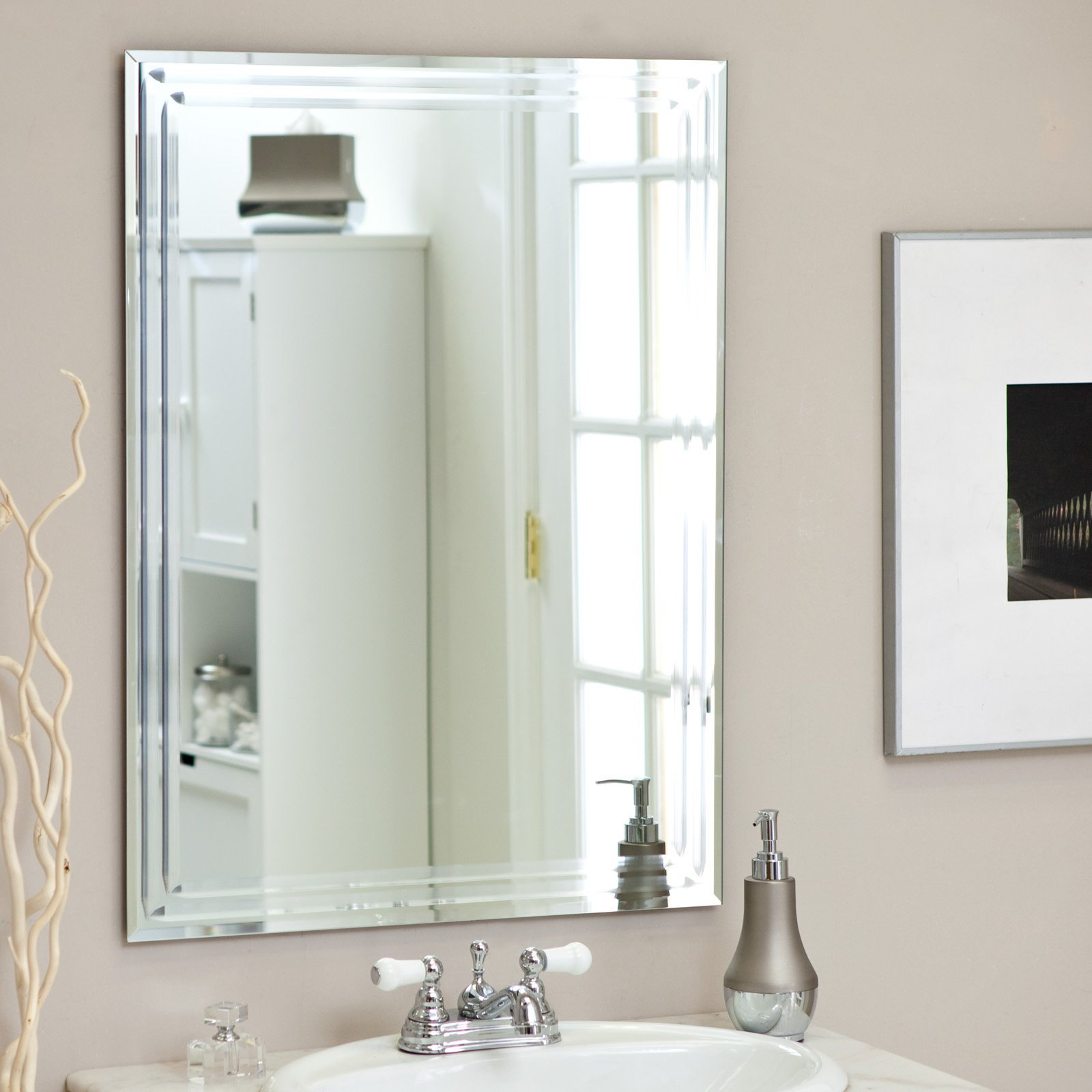 Dcor Wonderland Frameless Tri Bevel Wall Mirror W 3 Piece Set Unique With Current Frameless Beveled Wall Mirrors (View 17 of 20)