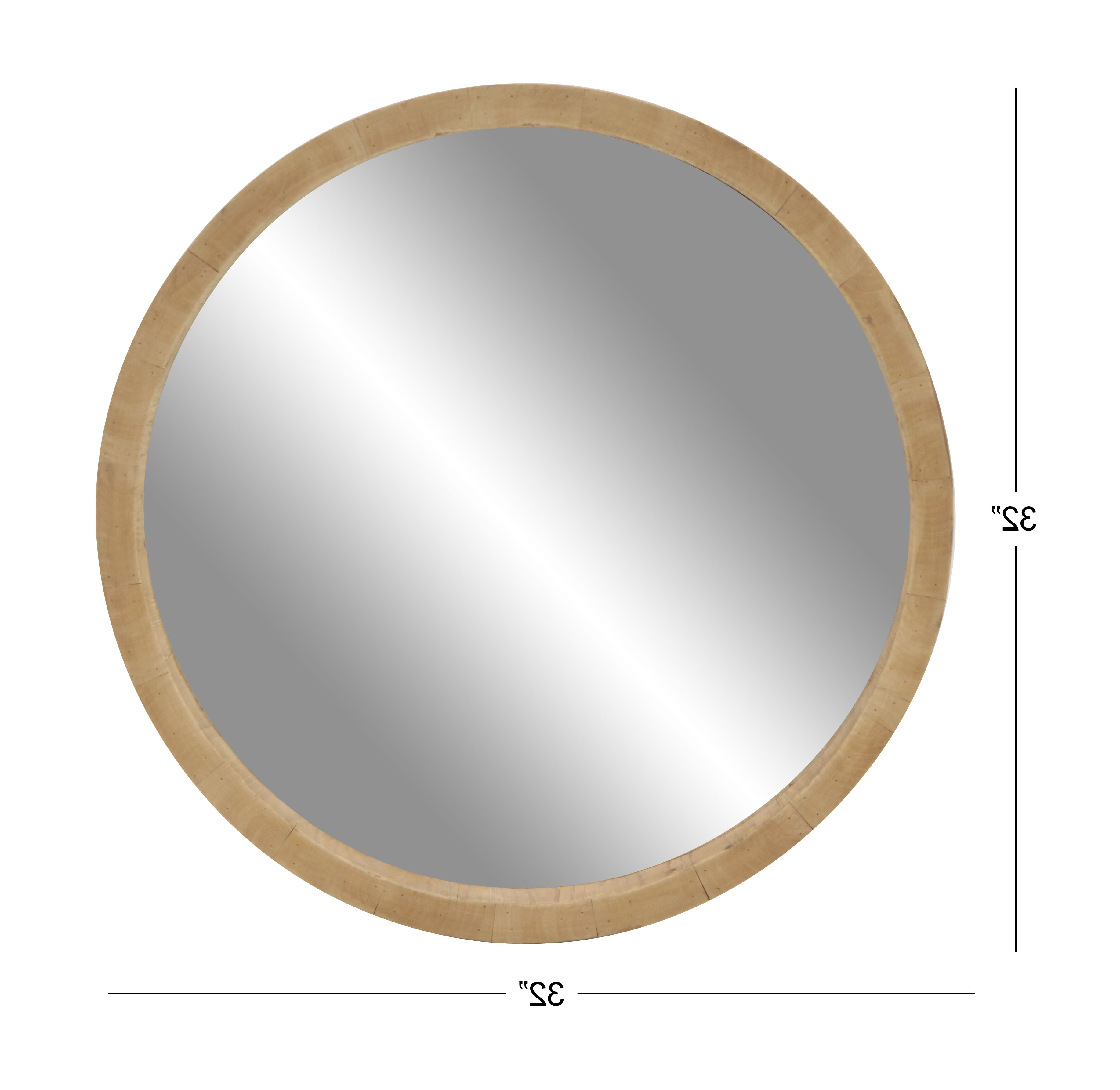 Decmode 32 Inch Rustic Wooden Round Wall Mirror, Brown Within Well Known Round Wood Wall Mirrors (View 17 of 20)