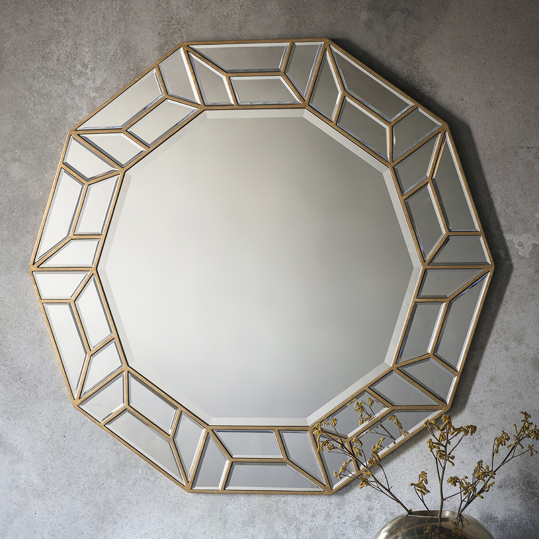 Deco Gold Geometric Wall Mirror Pertaining To Fashionable Geometric Wall Mirrors (View 9 of 20)