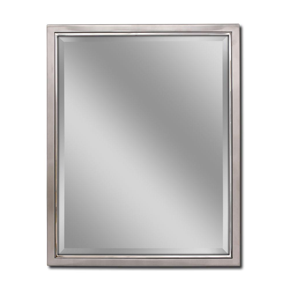 Deco Mirror 24 In. W X 30 In. H Classic Metal Framed Wall Mirror In Brush  Nickel / Chrome For Latest Metal Wall Mirrors (Gallery 6 of 20)