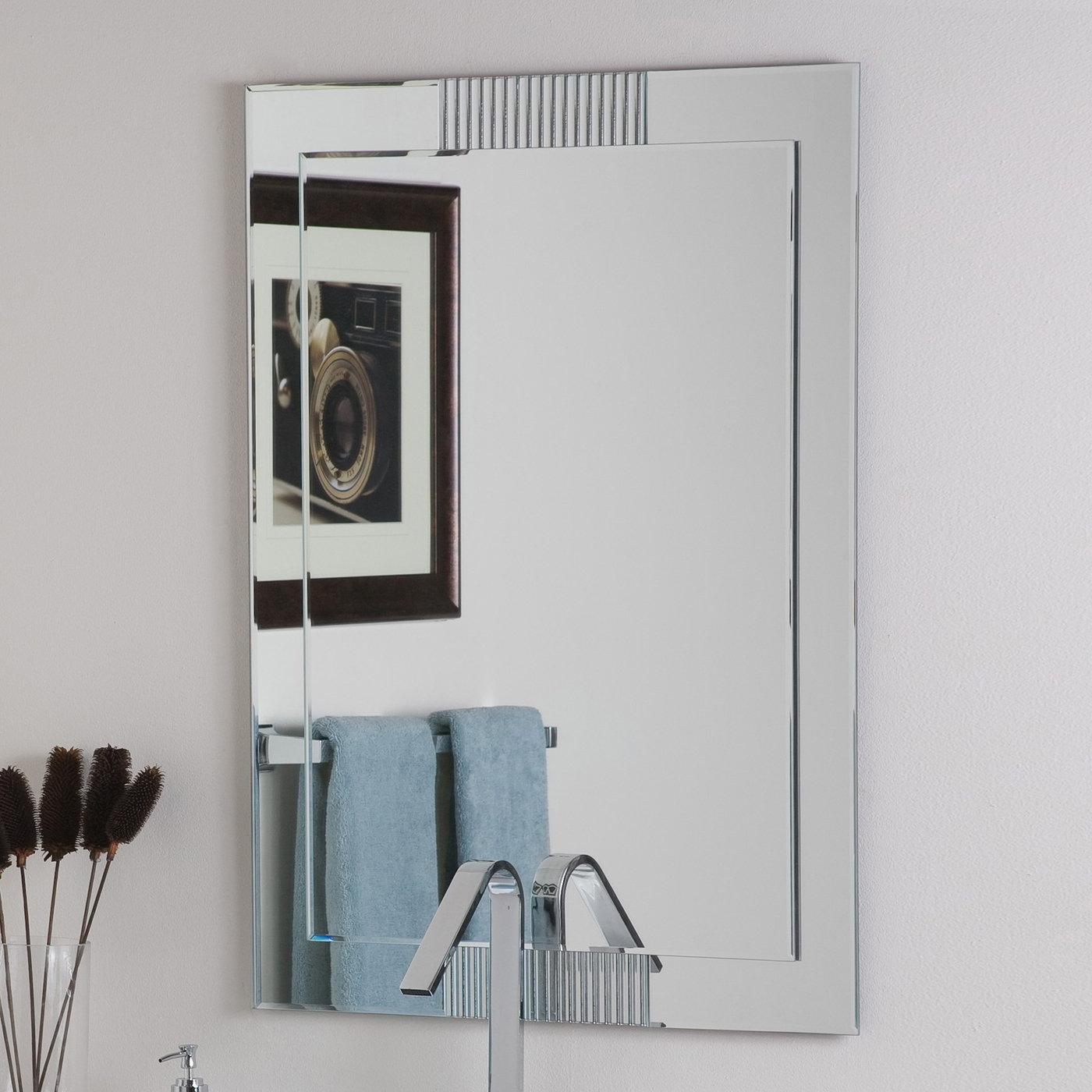 Decor Wonderland Francisca Large Frameless Wall Mirror For Well Known Large Frameless Wall Mirrors (View 8 of 20)