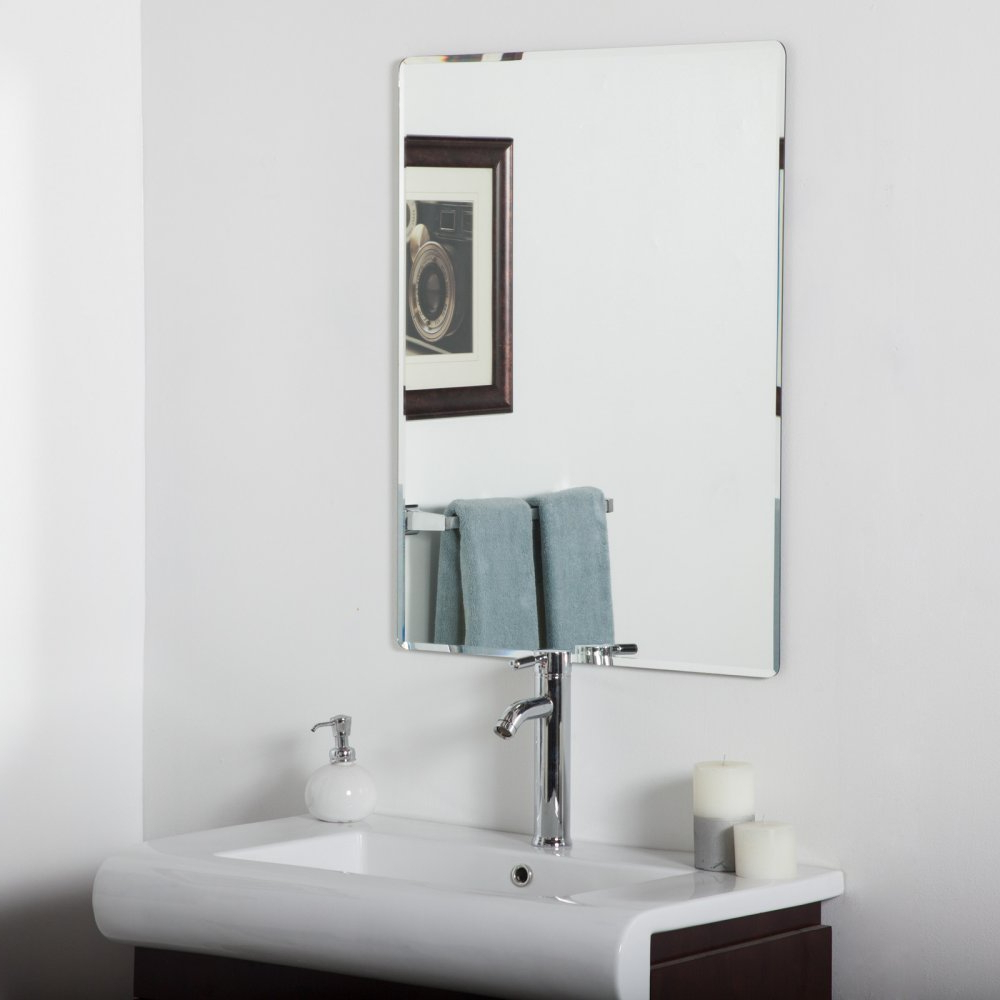 Decor Wonderland Vera Frameless Bathroom Wall Mirror – 24w X 32h In (View 2 of 20)