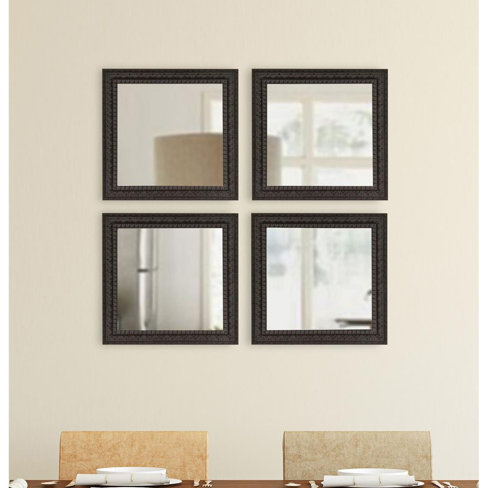 Decorating Wall Mirrors Regarding Well Liked 17.5 In. X 17.5 In. Dark Embellished Square Wall Mirrors (Set Of 4) (Gallery 17 of 20)