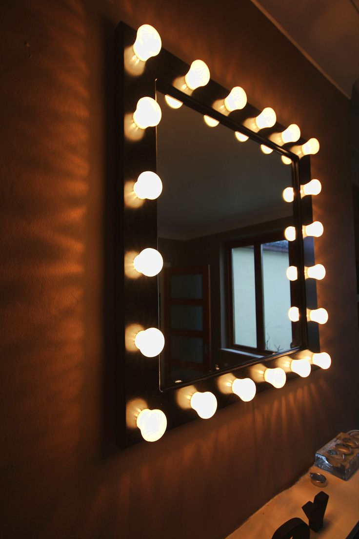 Decorations Stunning Square Wall Mirrors With Light Bulbs Black Within Popular Wall Mirrors With Light Bulbs (View 1 of 20)