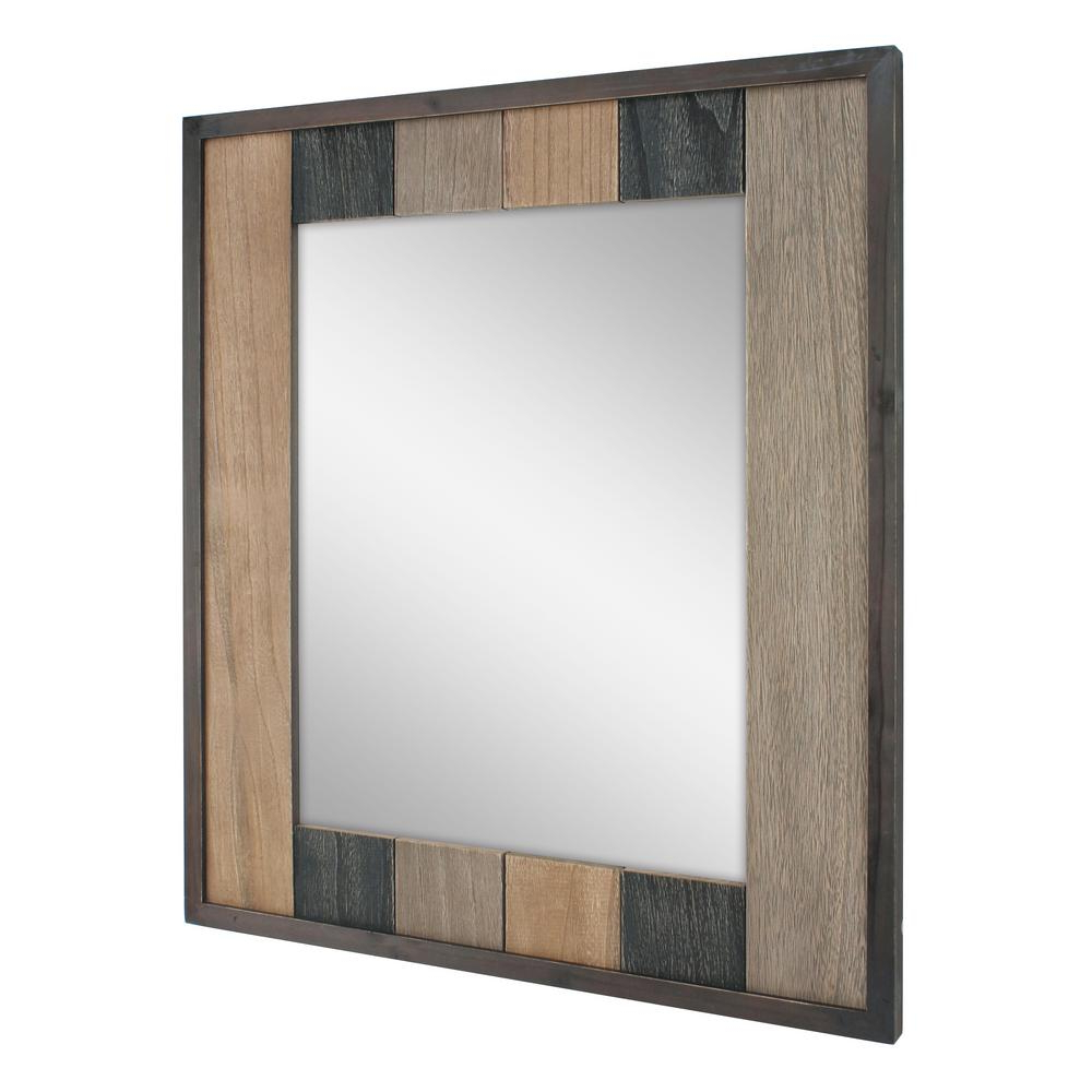 Decorative Cheap Wall Mirrors With Regard To Most Recent Stonebriar Collection Rectangle Natural Wood Plank Decorative Wall (View 4 of 20)