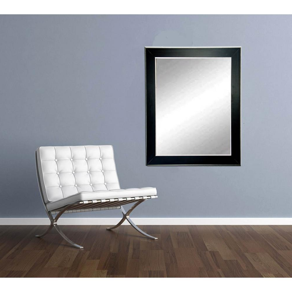 Decorative Contemporary Wall Mirrors With Regard To Best And Newest Silver Accent Black Framed Mirror (View 16 of 20)