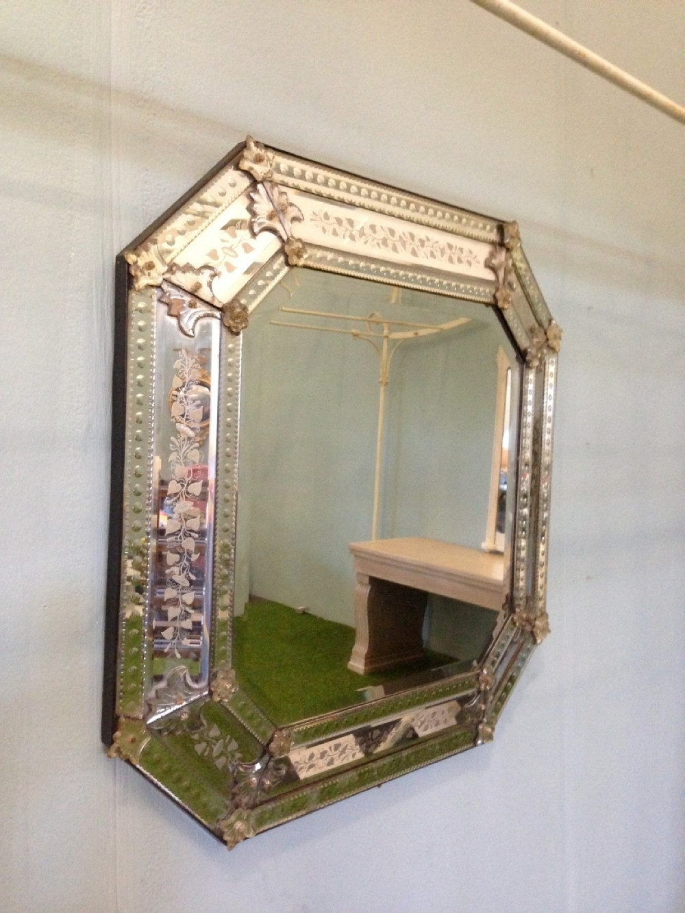 Decorative Etched Wall Mirrors Intended For Famous Large Octagonal Venetian Wall Mirror With Decorative Detailed (View 1 of 20)