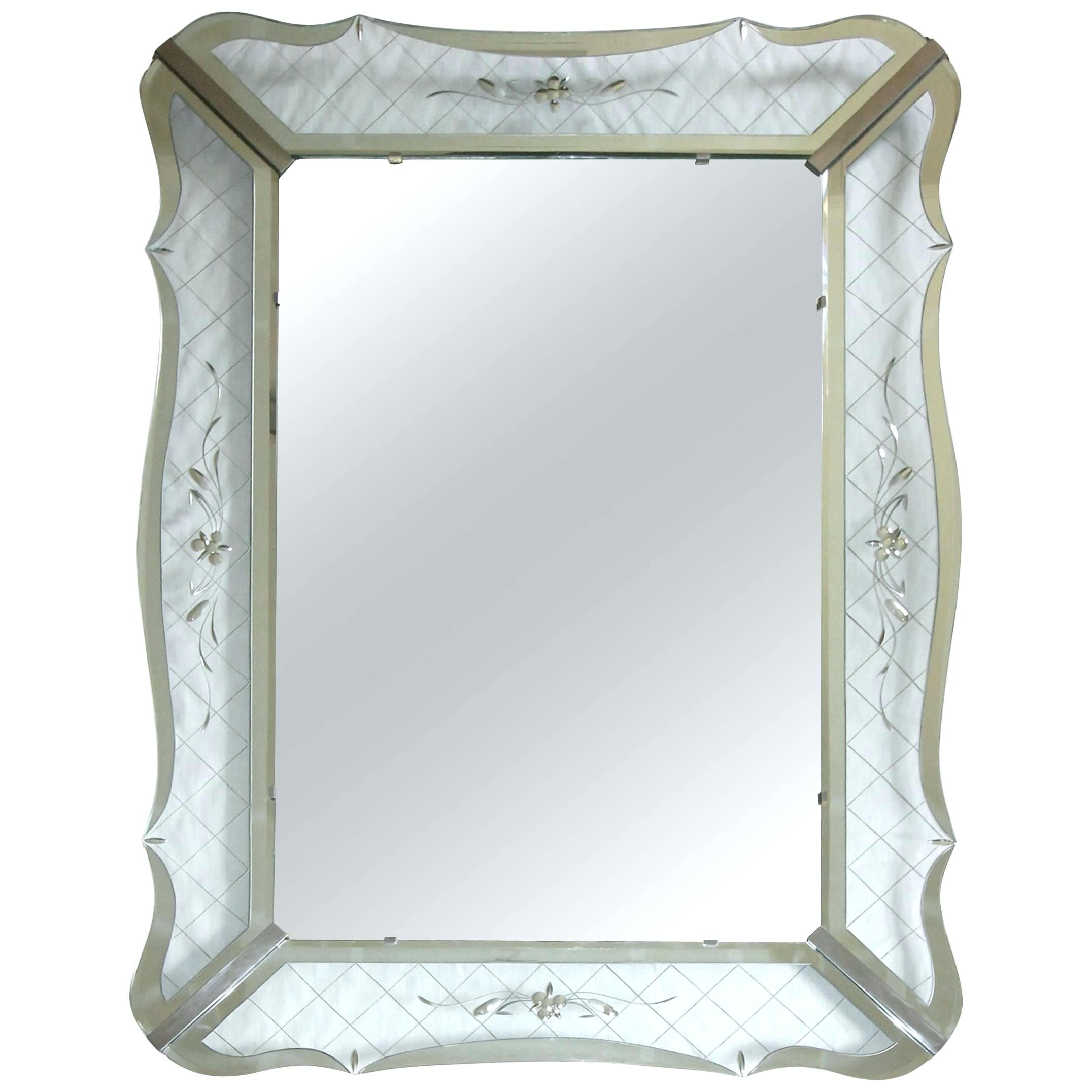 Decorative Etched Wall Mirrors With Regard To Famous Mirrored Edge Wall Mirror Large Wavy Clear Etched For Sale At (View 6 of 20)