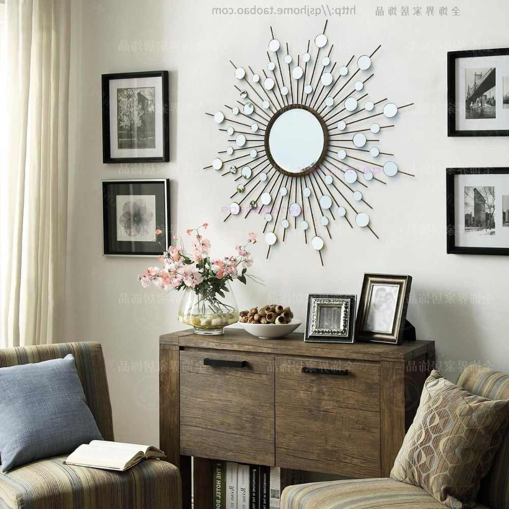 Decorative Living Room Wall Mirrors For Preferred Metal Wall Mirror Decor Modern Mirrored Wall Art Wire Wall Art Decorative  Sunburst Mirror (Gallery 17 of 20)