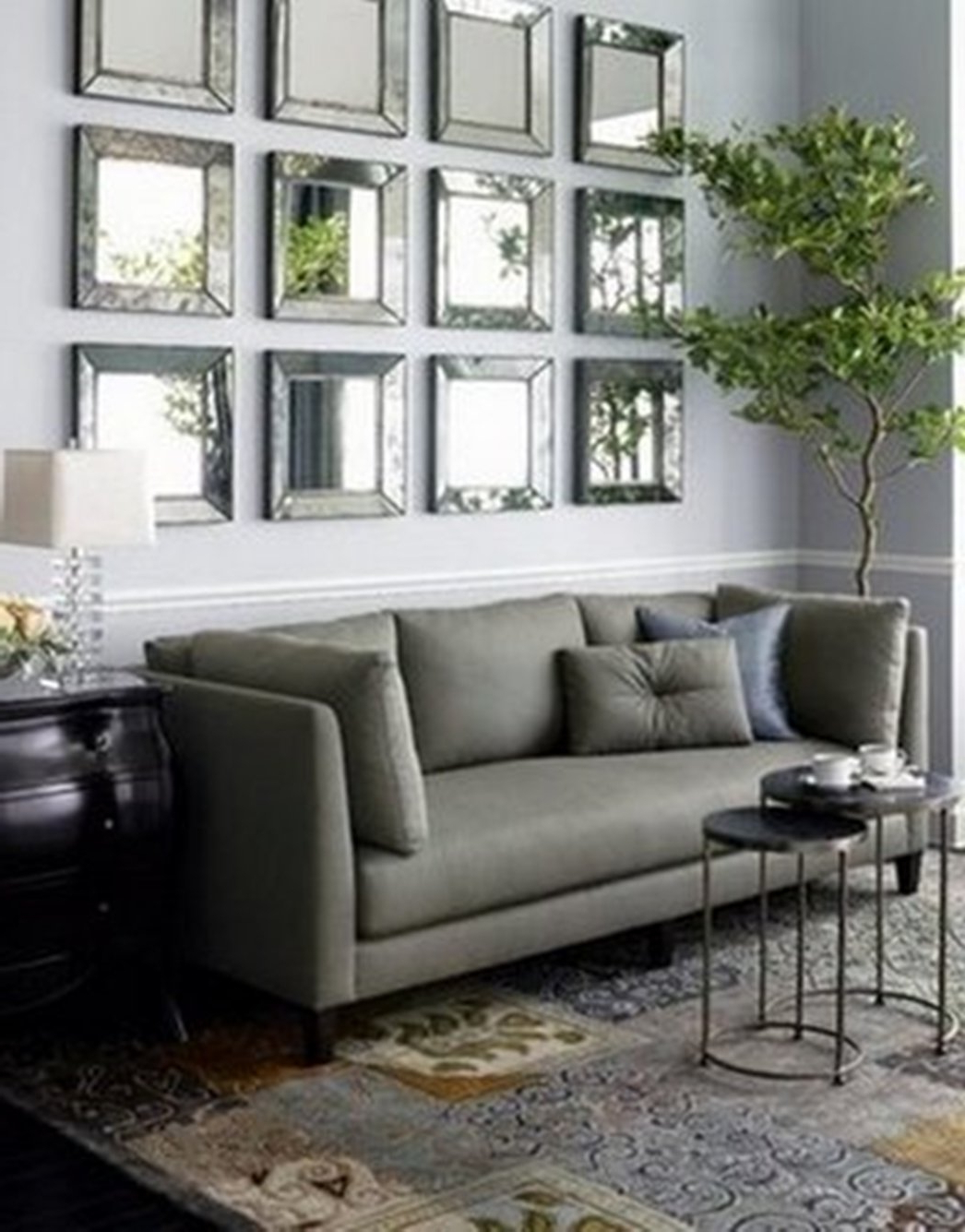 Decorative Living Room Wall Mirrors With Regard To 2019 Living Room : Living Room Mirror Wall With Square Silver Wall (View 8 of 20)