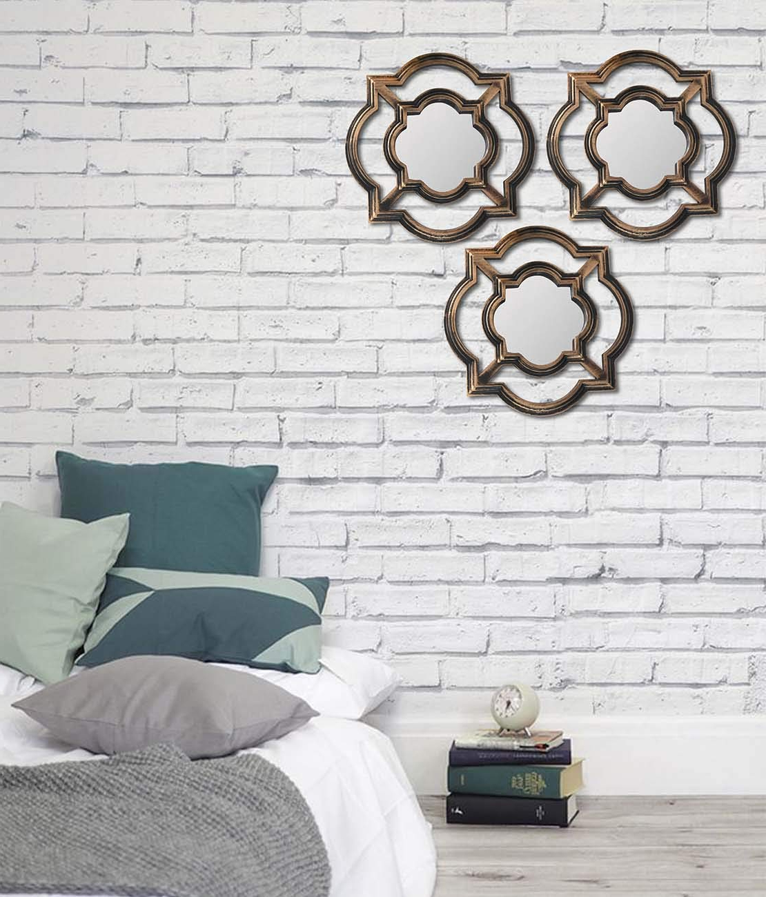 Decorative Living Room Wall Mirrors Within 2019 Art Street  Set Of 3 Beautiful Large Mirror For Bathroom,livingroom Wall  Mirror,decorative In Round Shape (11 X 11 Inchs) (Gallery 6 of 20)