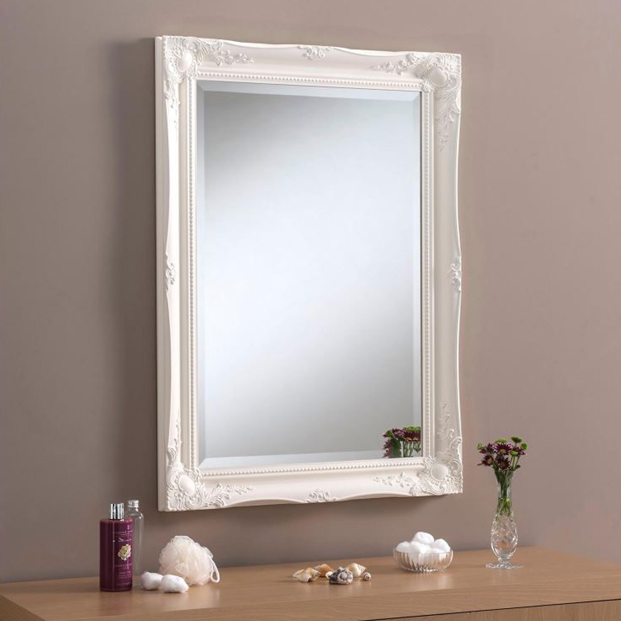Decorative Ornate Antique French Style White Wall Mirror With Most Recent Antique White Wall Mirrors (View 9 of 20)