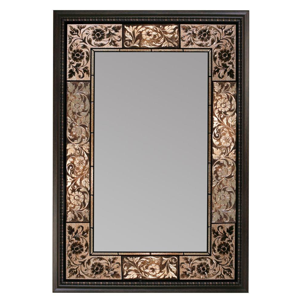 Decorative Rectangular Wall Mirrors Regarding Recent Deco Mirror 26 In. X 37 In. French Tile Rectangle Mirror In Dark Brown (Gallery 5 of 20)