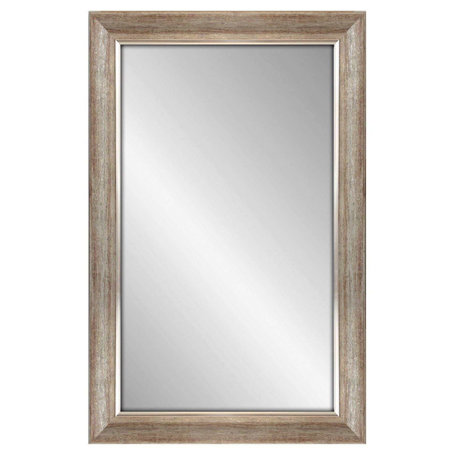 "Decorative Rectangular Wall Mirrors With Recent Rectangular Mirror Dark Silvertone Finish With Silver Filet 24""x (View 12 of 20)"