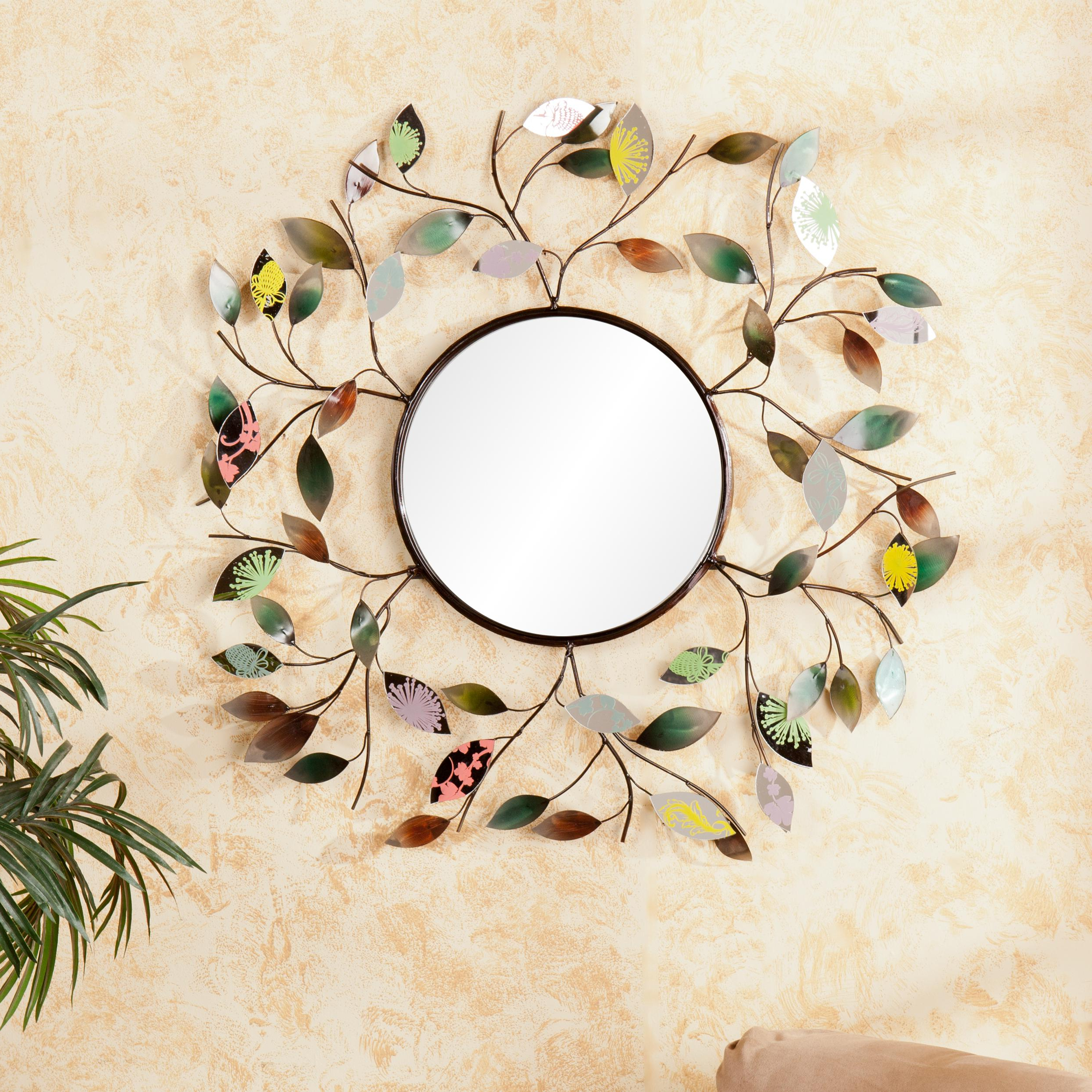 Decorative Round Wall Mirrors Pertaining To Current Decorative Metallic Leaf Wall Mirror – 3d Leaf Hanging Art – Multicolored Eclectic Style (View 18 of 20)