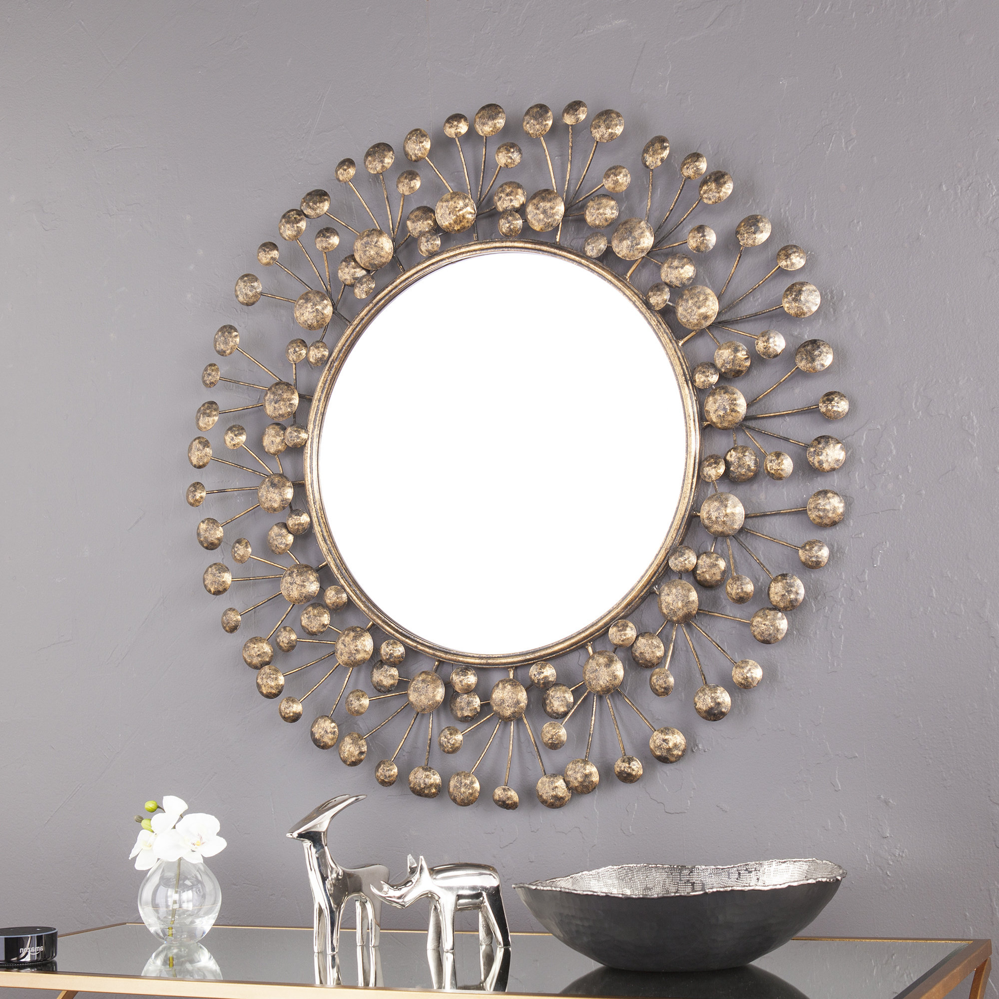 Decorative Round Wall Mirrors Pertaining To Fashionable Details About Brayden Studio Eisenbarth Oversized Decorative Round Wall  Mirror (View 2 of 20)