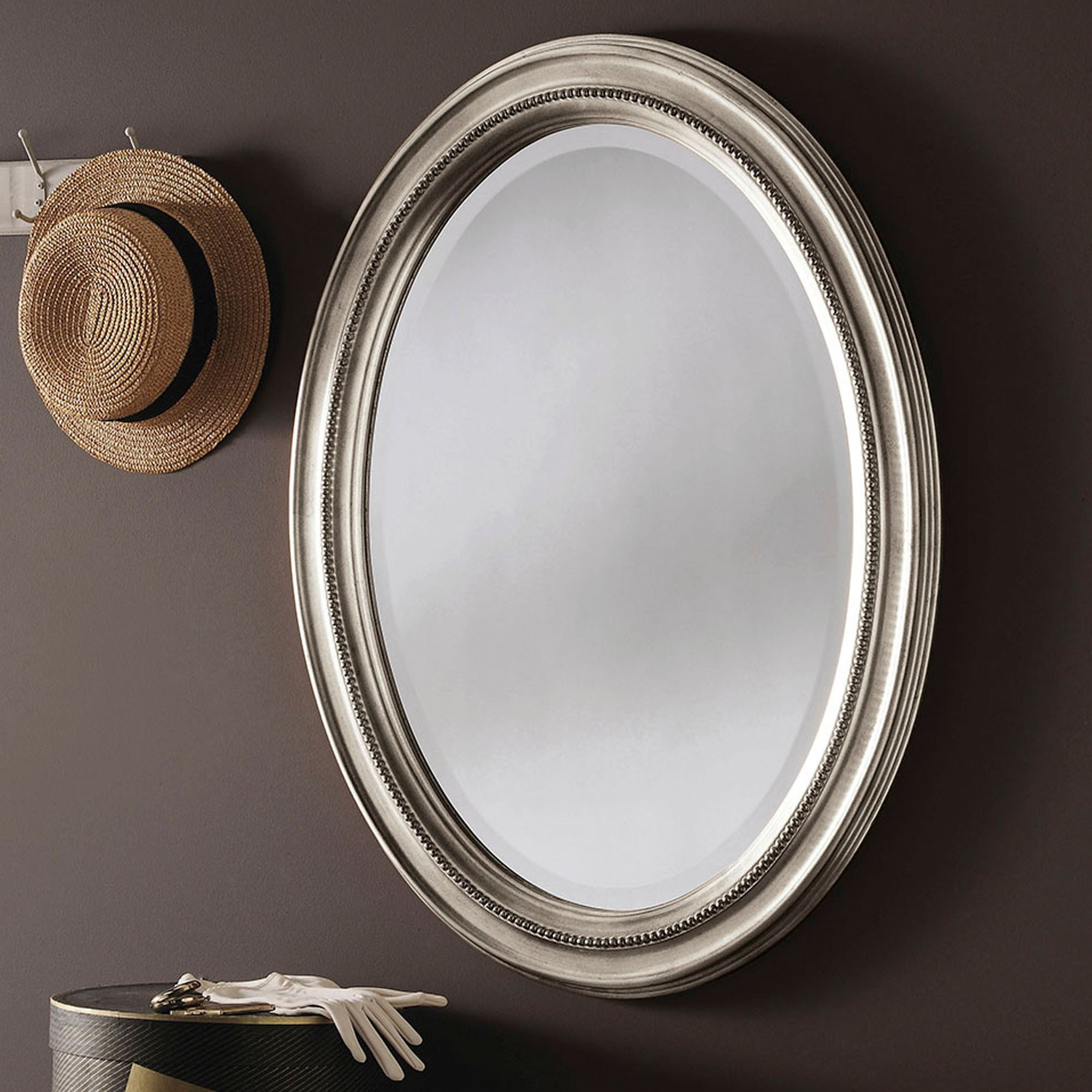 Decorative Silver Oval Wall Mirror In Popular Silver Oval Wall Mirrors (View 6 of 20)