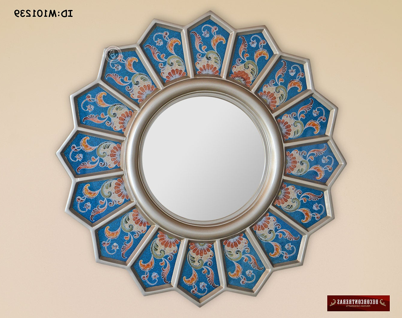 Decorative Wall Mirrors For Bathrooms Inside Most Recent Round Mirrors Wall Decor 'blue Sunflower', Decorative Wall Mirrors, Handpainted Glass Mirror Wall Art, Bathroom Accent Round Wall Mirror (View 20 of 20)