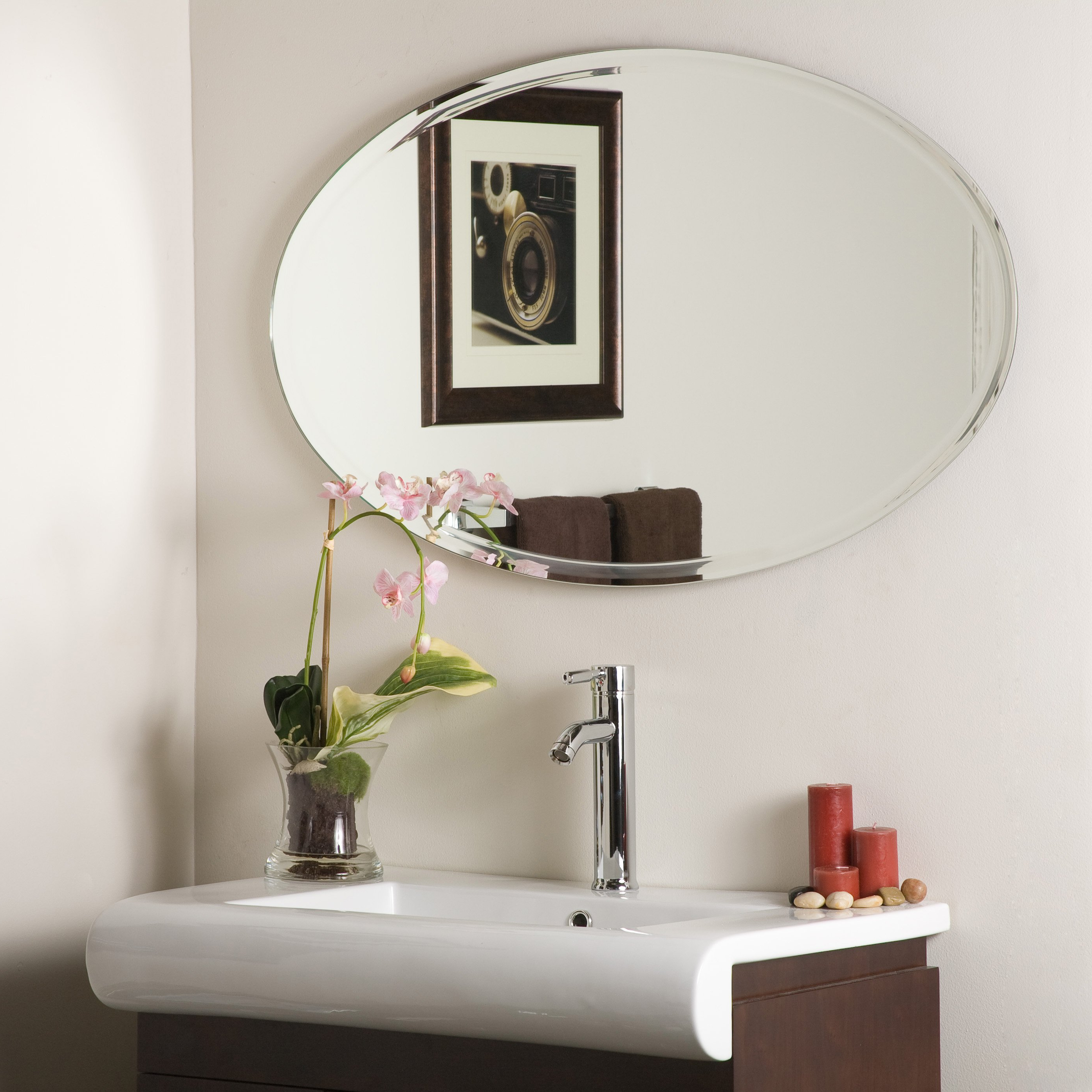 Decorative Wall Mirrors For Bathrooms Pertaining To Widely Used Oversized Round Mirrors Custom Cut Mirror Lowes Large Wall Cheap (View 7 of 20)