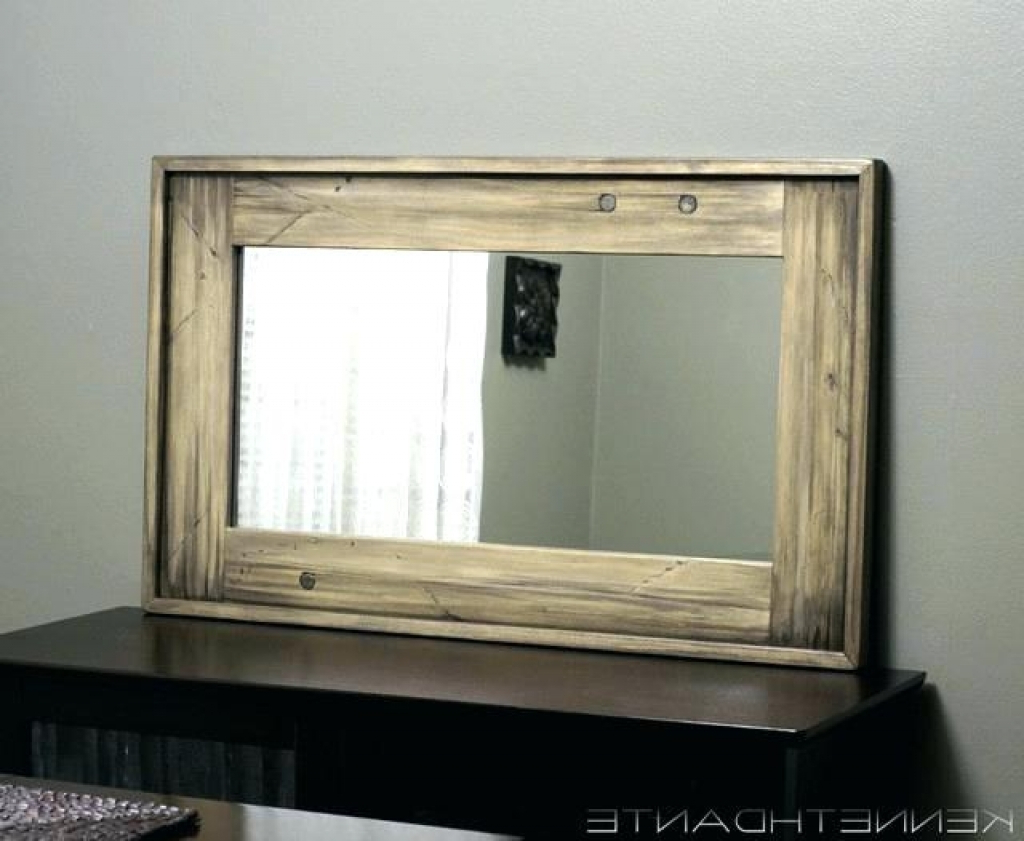 Decorative Wall Mirrors Wood Frame Mirror Decoration Large In Most Up To Date Large Wood Wall Mirrors (View 5 of 20)