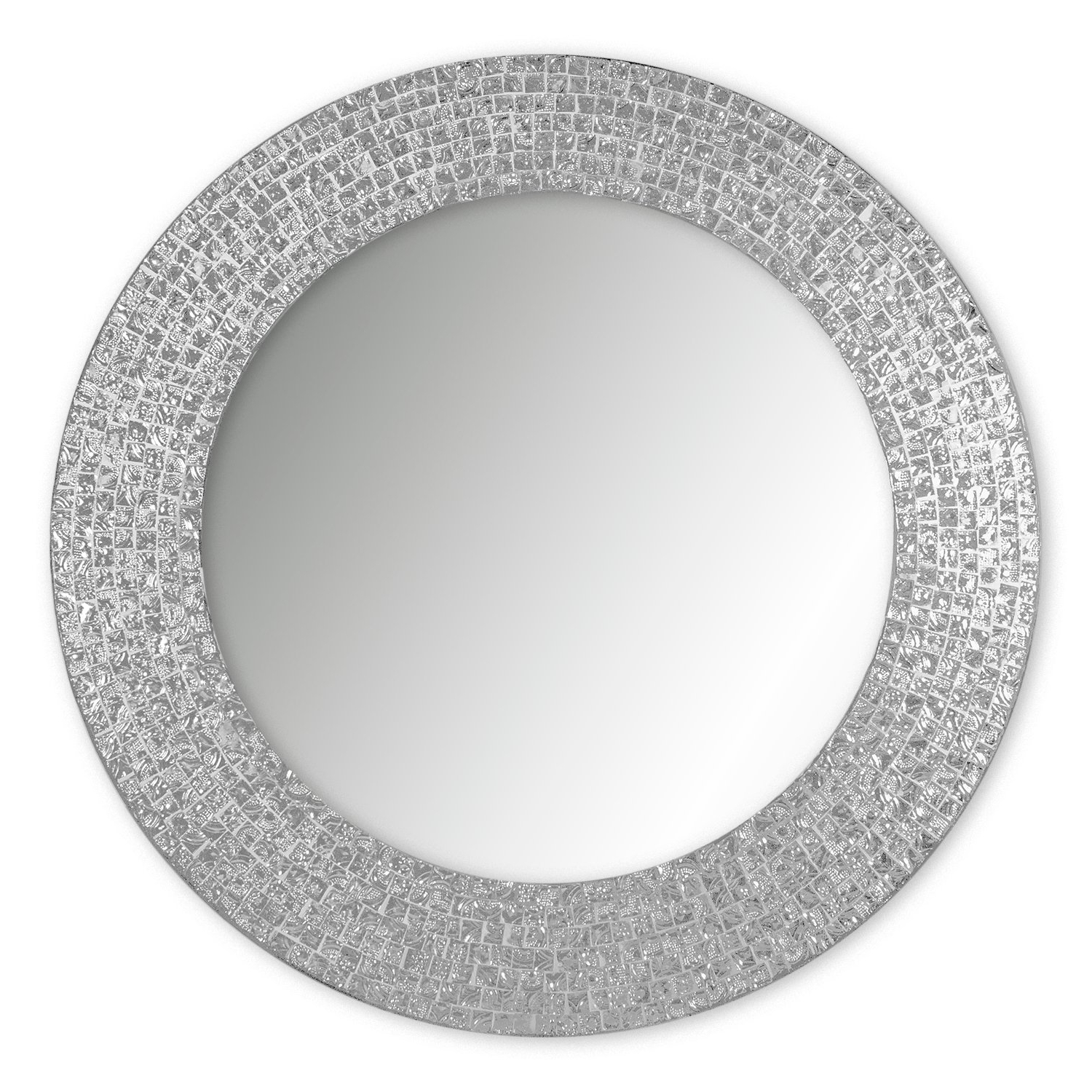 "Decorshore 20"" Jewel Tone Accent Mirror, Round Decorative Wall Mirror W/embossed Glass Mosaic Tile Frame (silver Topaz) Intended For Best And Newest Deniece Sunburst Round Wall Mirrors (View 20 of 20)"