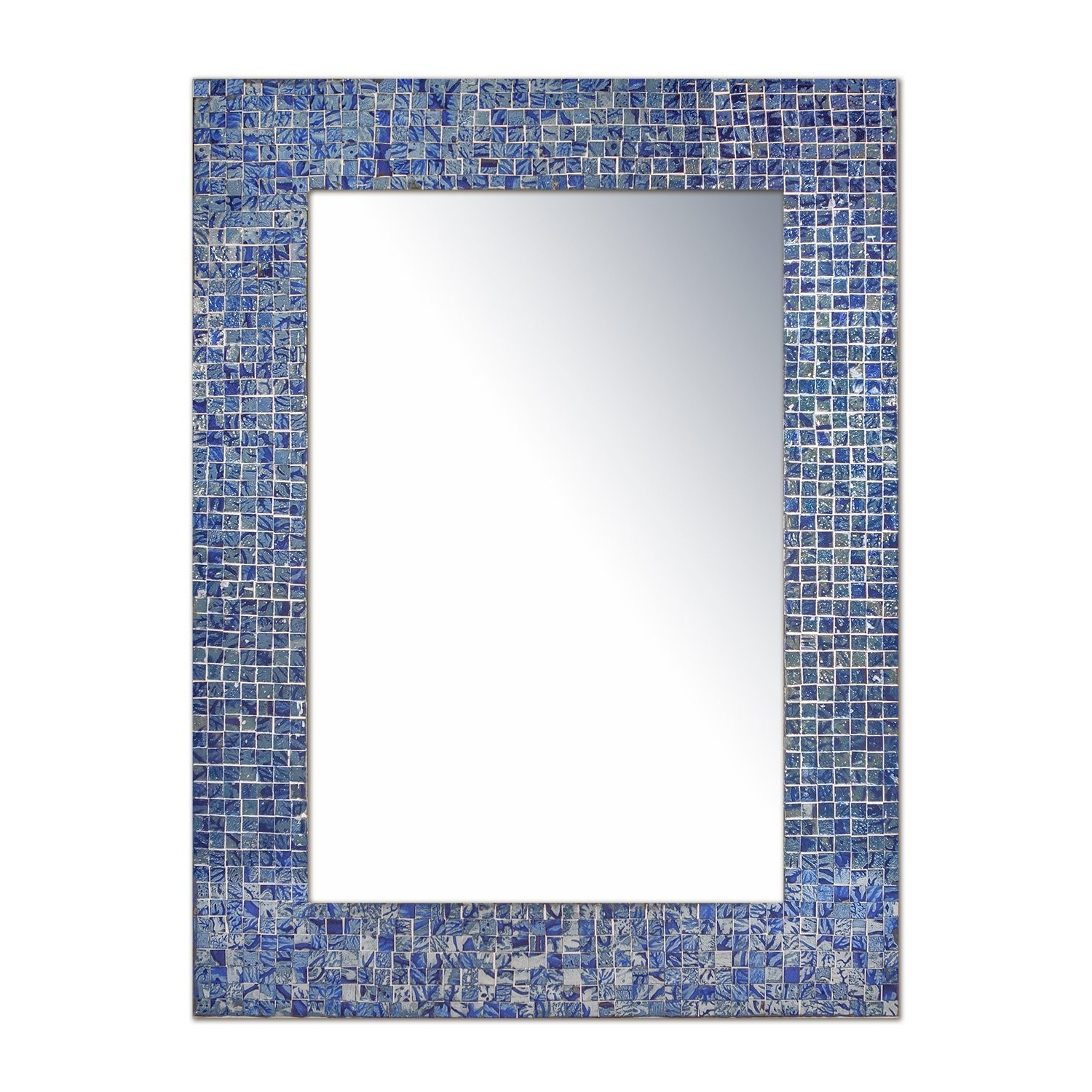 """Decorshore 24""""x18"""" Accent Rectangular Decorative Mosaic Wall Mirror With Glass Tile Frame In Sapphire & Silver Hues Inside Well Known Mosaic Wall Mirrors (Gallery 3 of 20)"""
