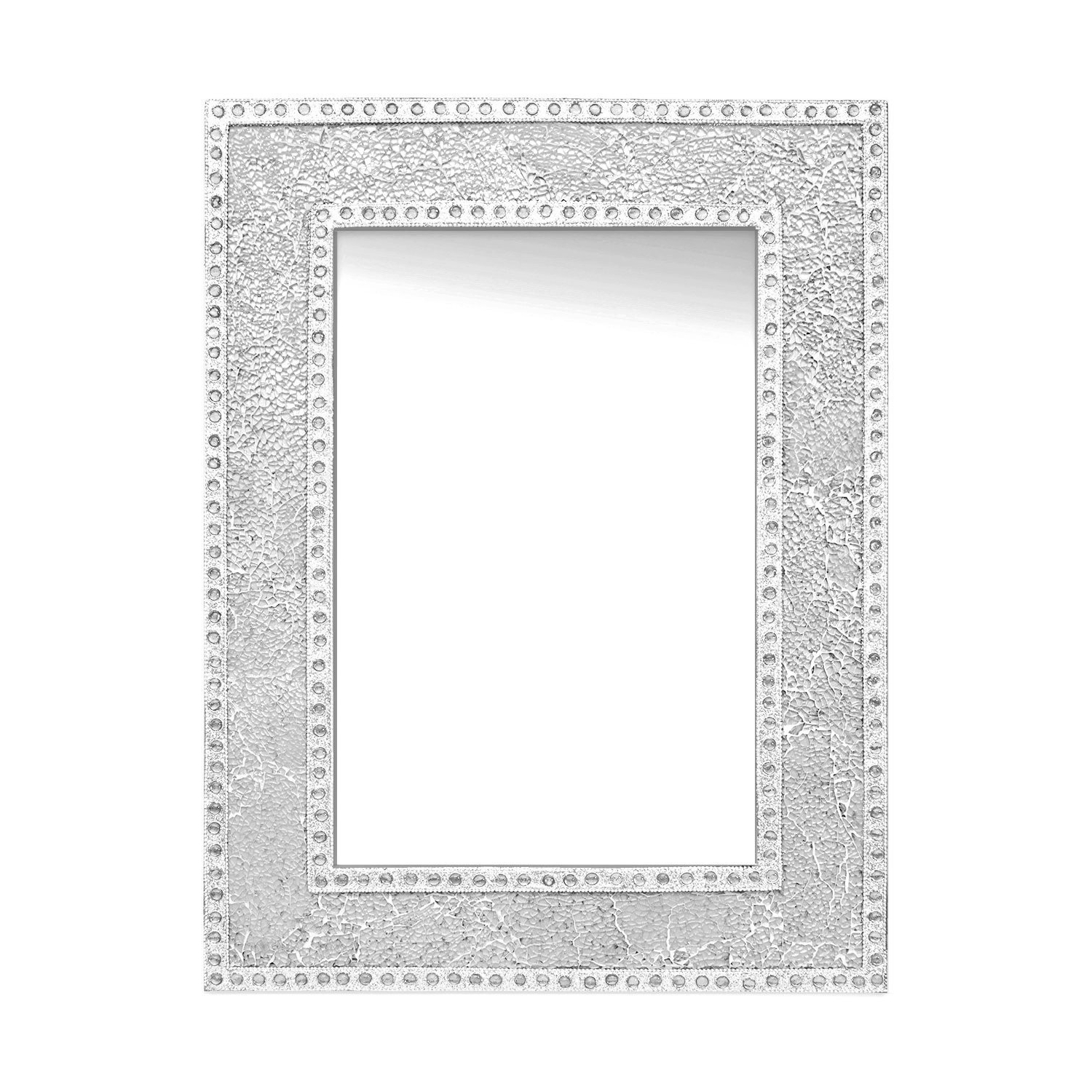 "Decorshore 24""x18"" Crackled Glass Framed Rectangular Decorative Mosaic Wall Mirror, Accent Mirror Silver Inside Famous Mosaic Framed Wall Mirrors (View 13 of 20)"