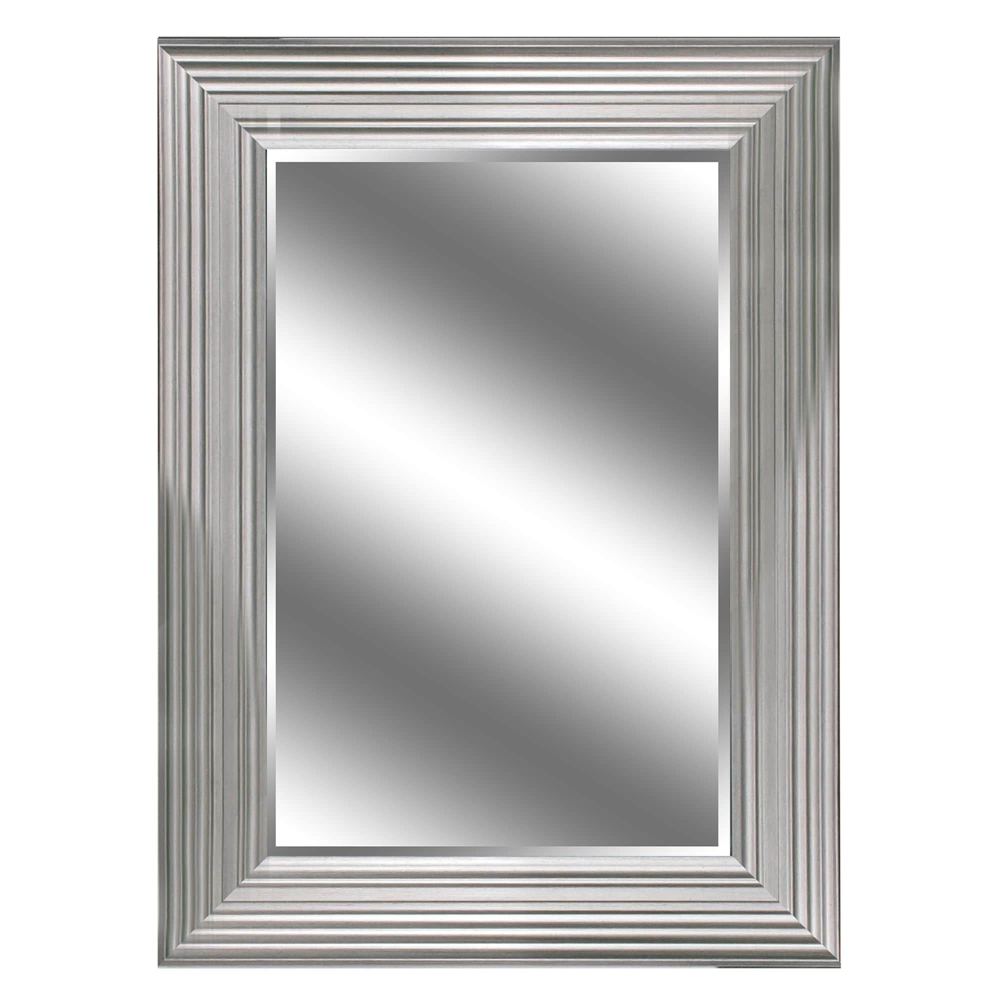 """Dedrick Decorative Framed Modern And Contemporary Wall Mirrors Inside Best And Newest 24"""" X 36"""" Silver Woodgrain Mirror 1"""" Bevel With 5"""" Frame (View 6 of 20)"""