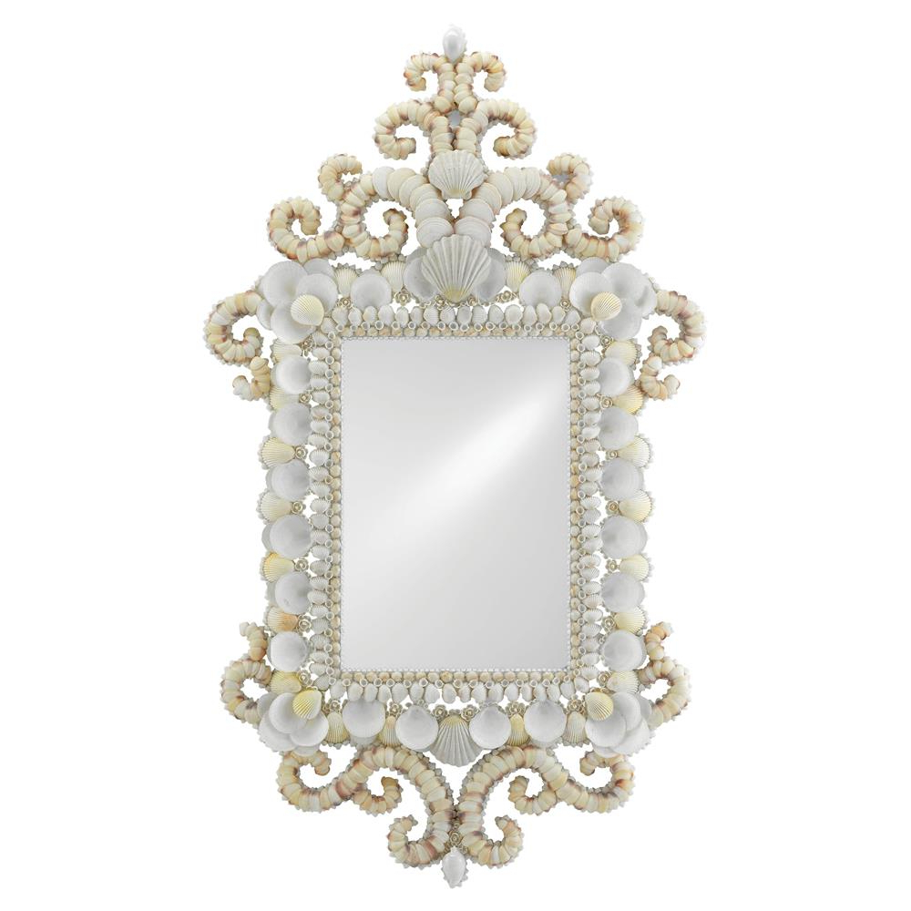 Del Mar Coastal Beach Regal Rectangular White Seashell Wall Mirror With Regard To Well Liked Coastal Style Wall Mirrors (View 16 of 20)