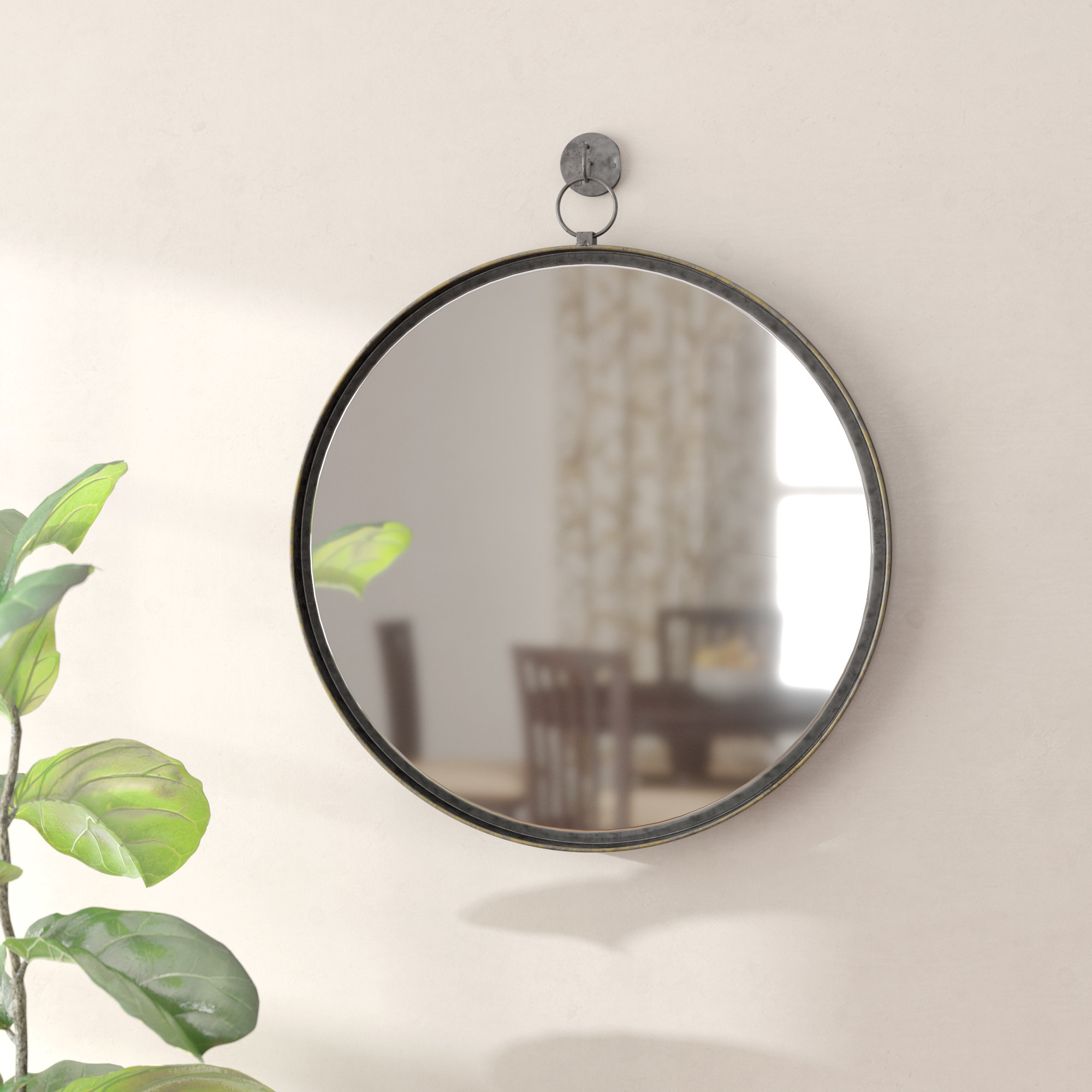 Della Suspended Round Wall Mirror With Most Popular Vertical Round Wall Mirrors (View 10 of 20)