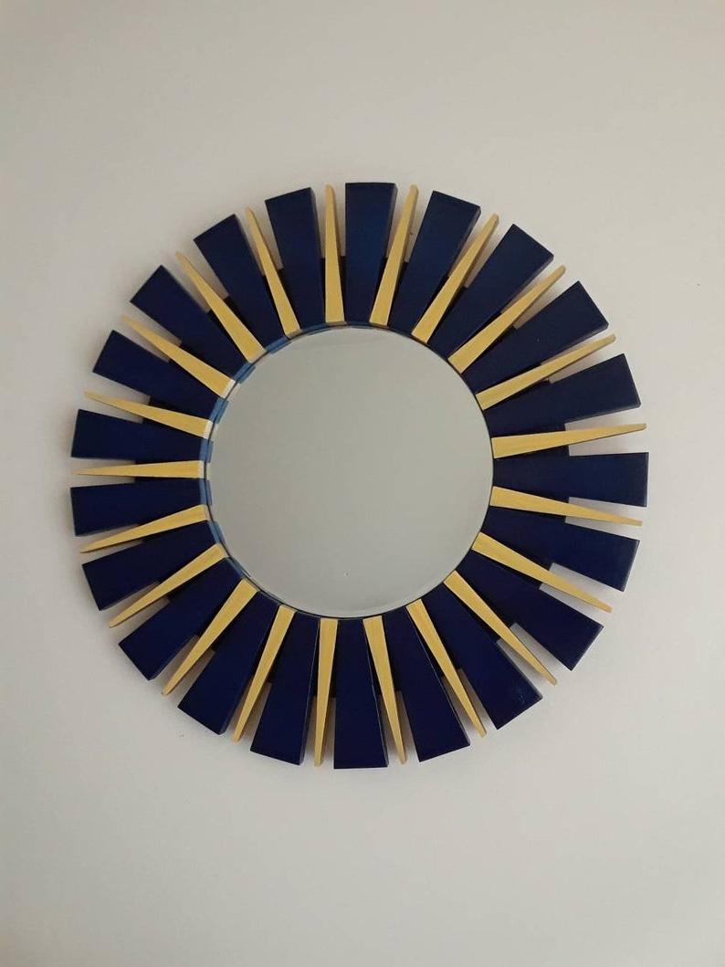 Deniece Sunburst Round Wall Mirrors With Newest Navy Blue And Yellow Sunburst Round Wall Mirror (View 5 of 20)