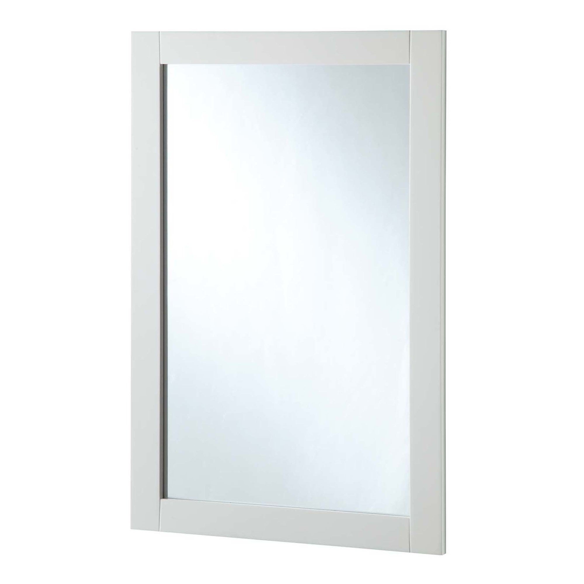 """Design House 547208 20"""" Wall Mounted Mirror With Wooden Frame And Plain Glass Edge – White Regarding Popular Plain Wall Mirrors (View 16 of 20)"""