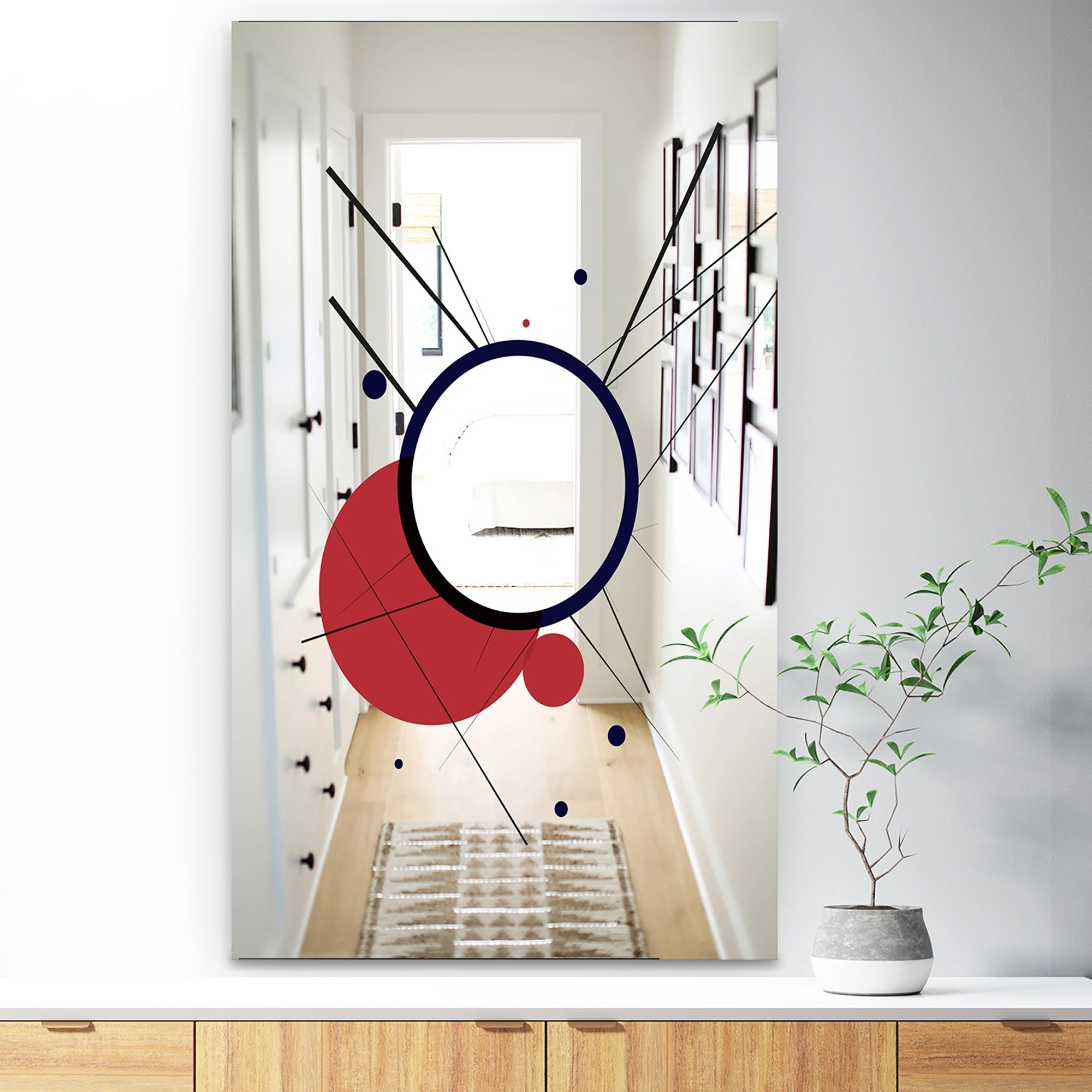 Designart 'circular Web 2' Red Mid Century Wall Mirror With Most Current Large Red Wall Mirrors (View 16 of 20)