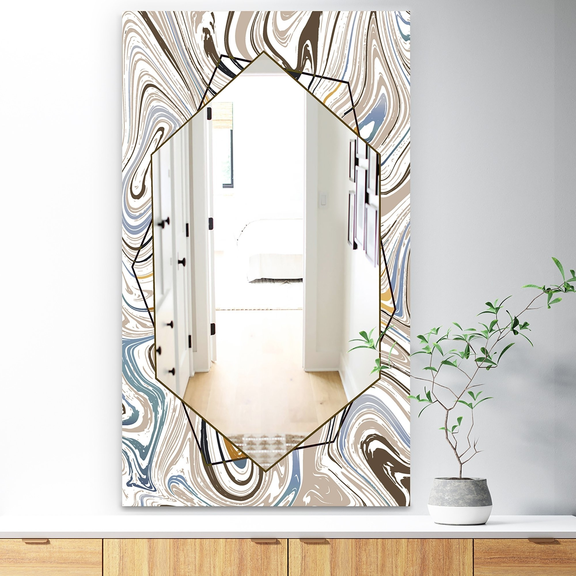 Designart 'marbled Diamond 18' Bohemian And Eclectic Mirror – Wall Within Most Popular Sartain Modern & Contemporary Wall Mirrors (View 6 of 20)