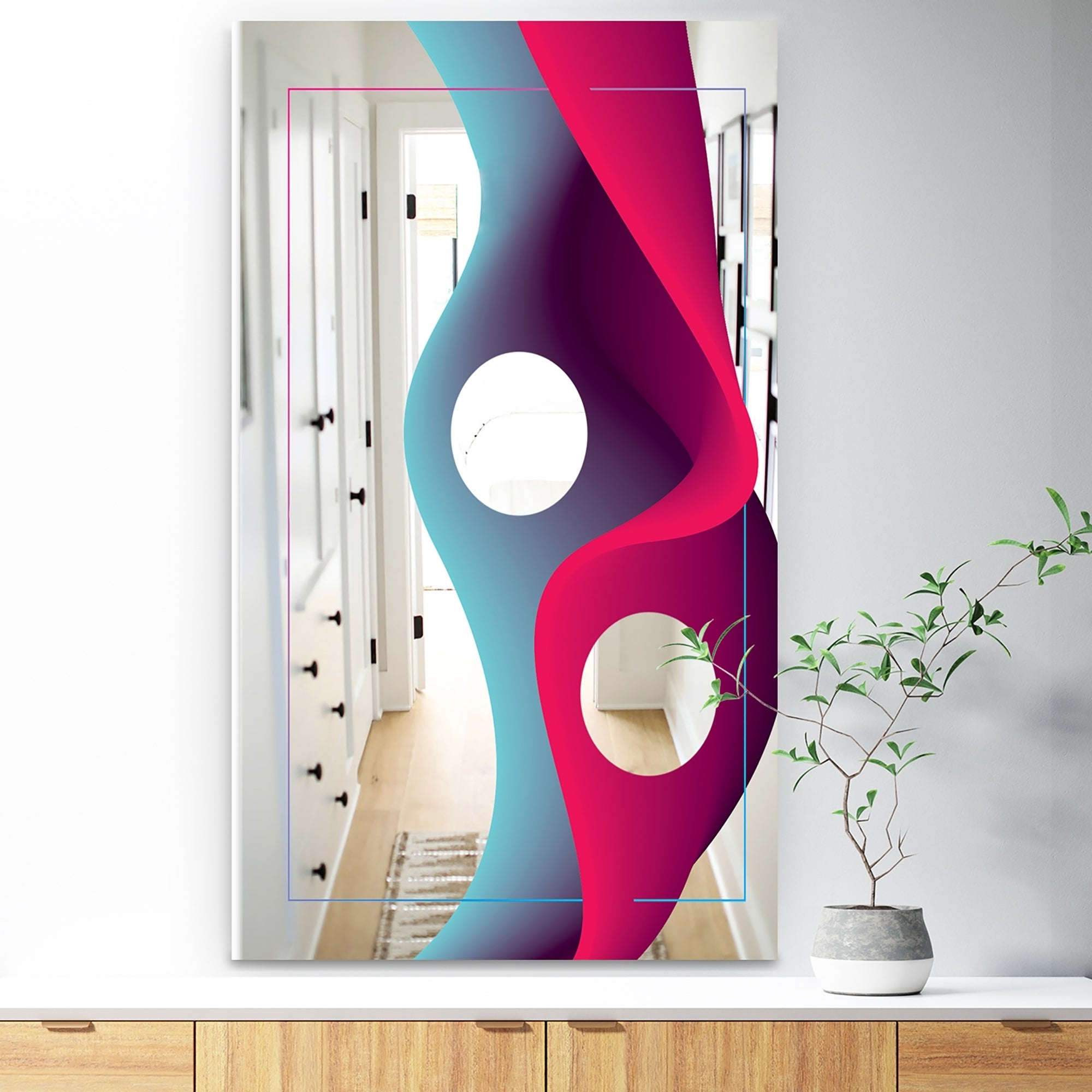 Designart 'nebulous Waves 10' Red Mid Century Large Wall Mirror With Well Liked Large Red Wall Mirrors (View 12 of 20)