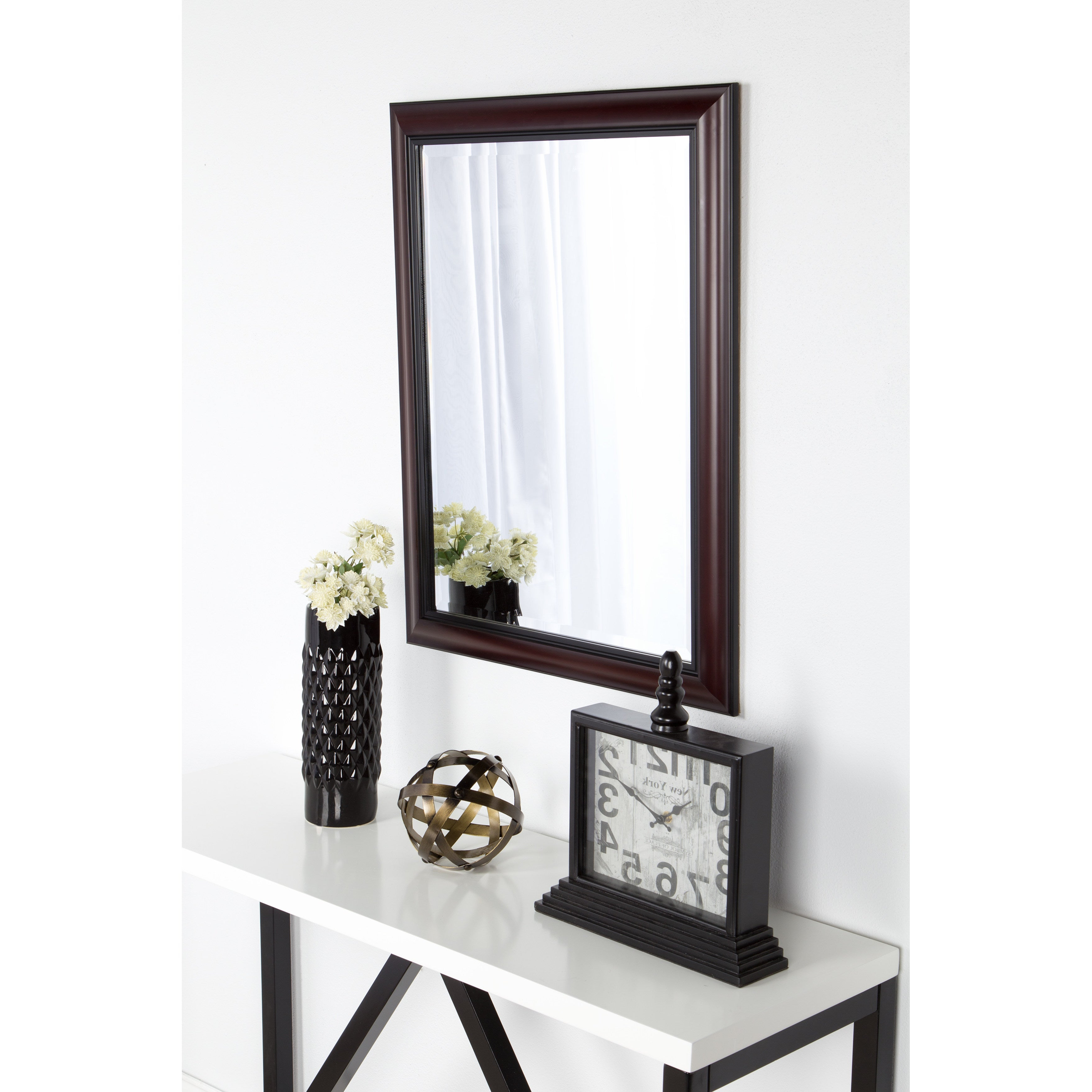Designovation Dalat Cherry Framed Beveled Wall Mirror Within Widely Used Cherry Wall Mirrors (View 17 of 20)