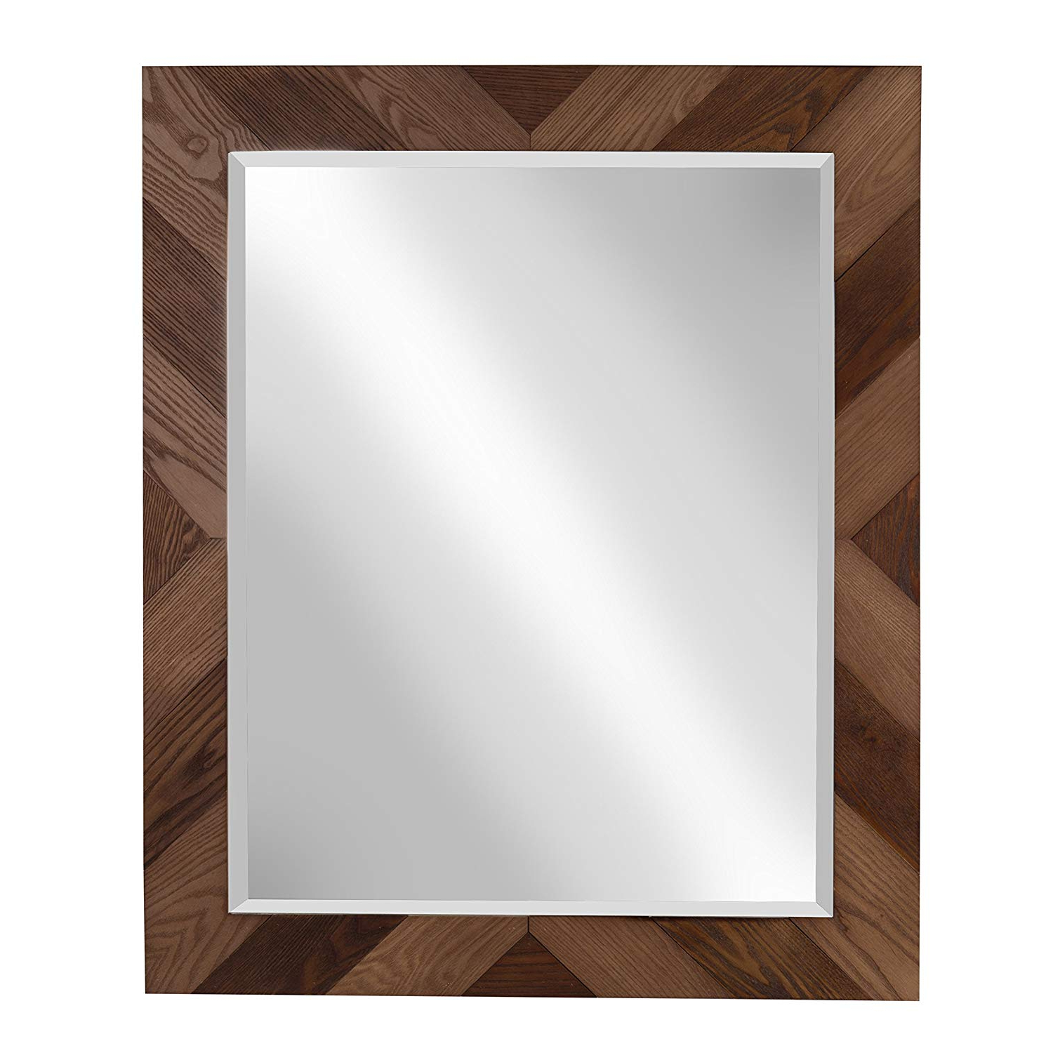 Designovation Rost Pieced Wood Framed Wall Accent Mirror, 27.5X33.5, Brown With Regard To Widely Used Wood Accent Mirrors (Gallery 8 of 20)