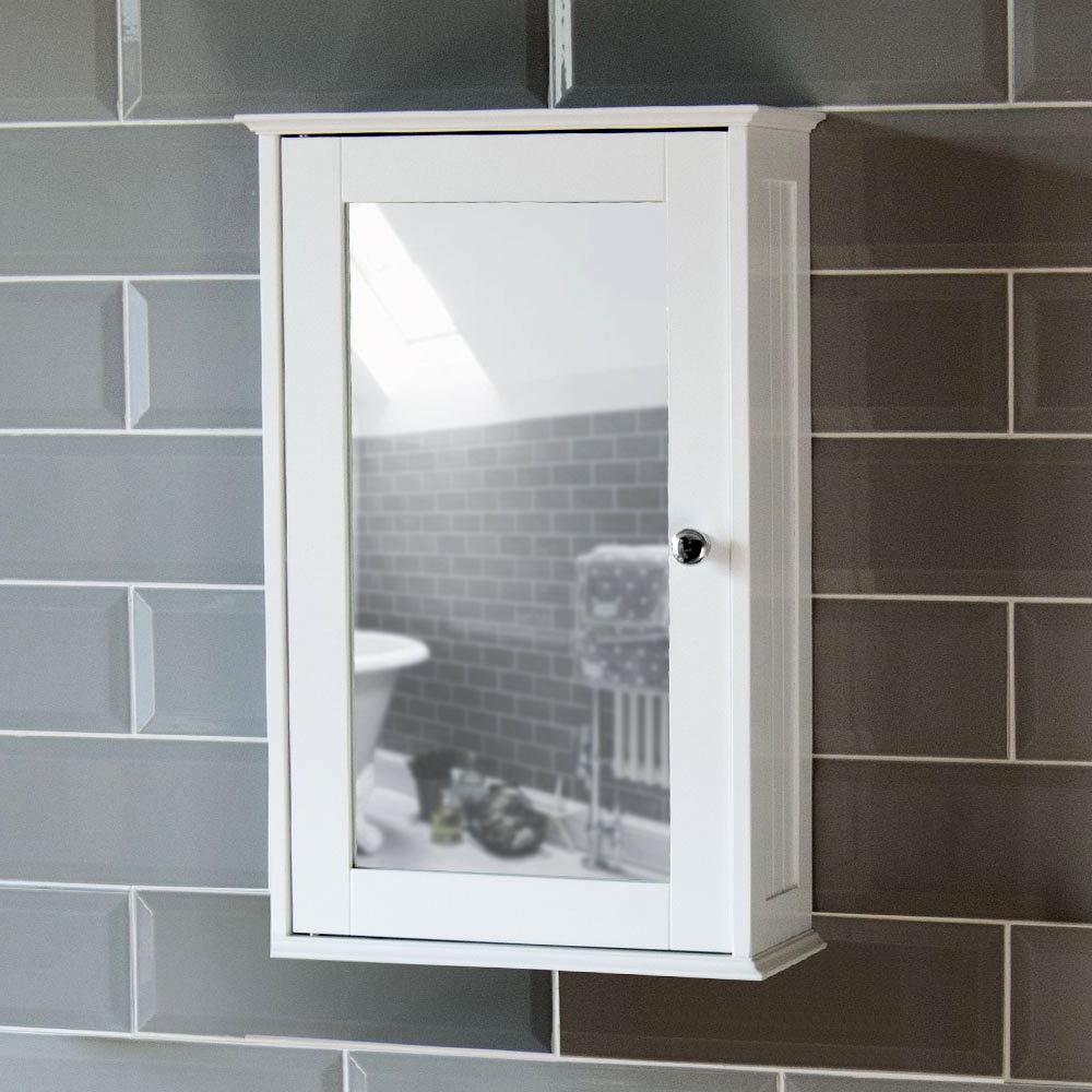 Details About Bathroom Wall Cabinet Single Mirror Door Cupboard White Wood Home Discount Intended For Most Up To Date Bathroom Wall Mirror Cabinets (View 8 of 20)