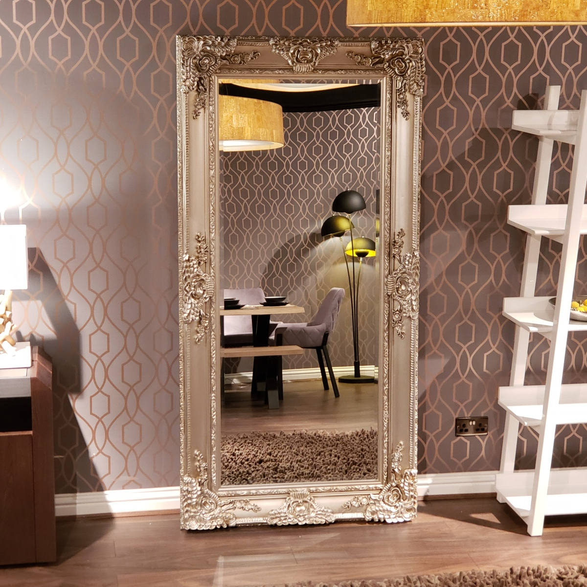 Details About Beautiful Ornate Silver French Style Bevelled Glass Wall Mirror 1 X 2M For Popular Beautiful Wall Mirrors (View 7 of 20)