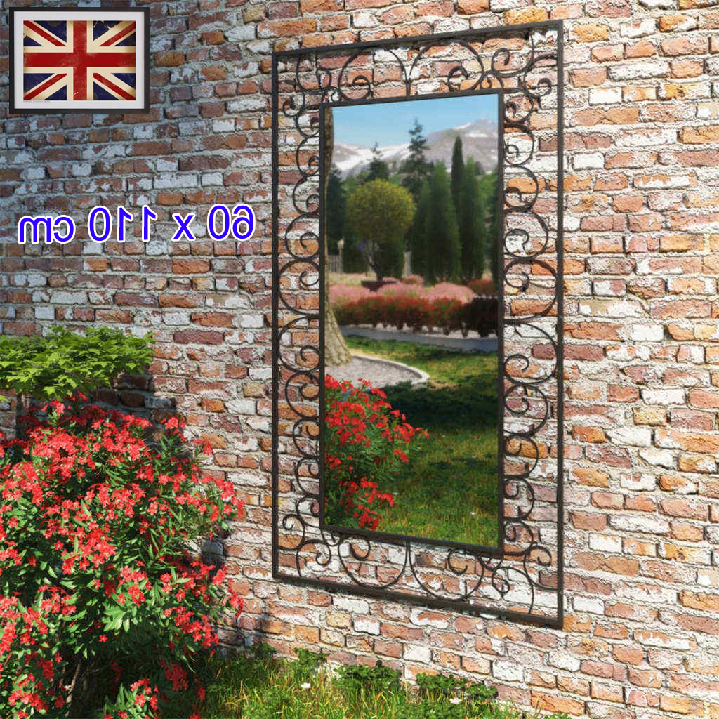 Details About Black Garden Wall Mirror Rectangular 60x110cm Outdoor Window Illusion Steel Uk Regarding Trendy Garden Wall Mirrors (View 18 of 20)
