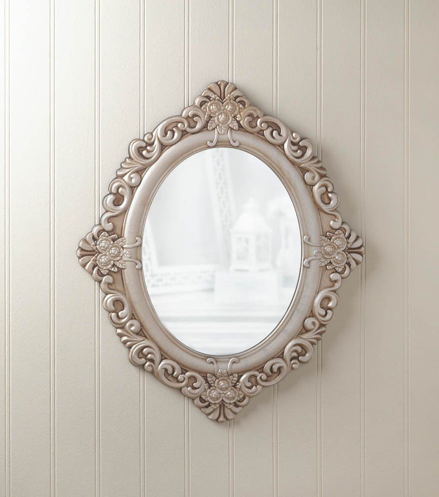 Details About Distressed Weathered Orange Red Shabby Vintage Carved Regarding Recent Oval Wood Wall Mirrors (View 16 of 20)