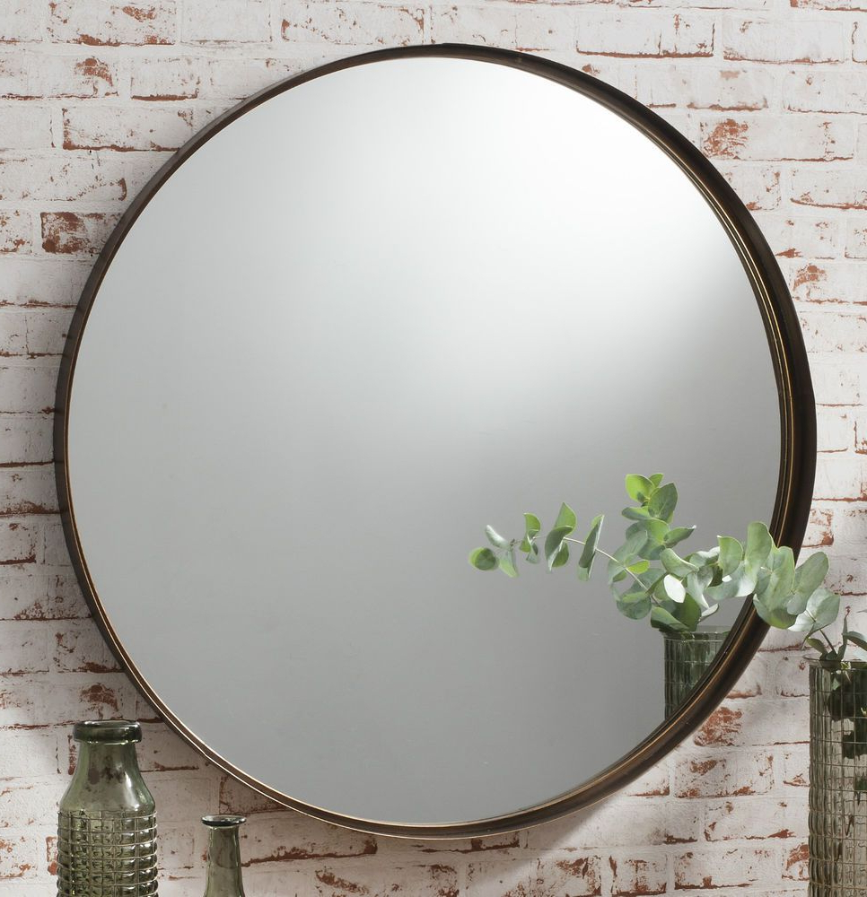 """Details About Greystoke Large Bronze Round Wall Mirror – 33"""" (84Cm Regarding Most Up To Date Large Circular Wall Mirrors (View 2 of 20)"""