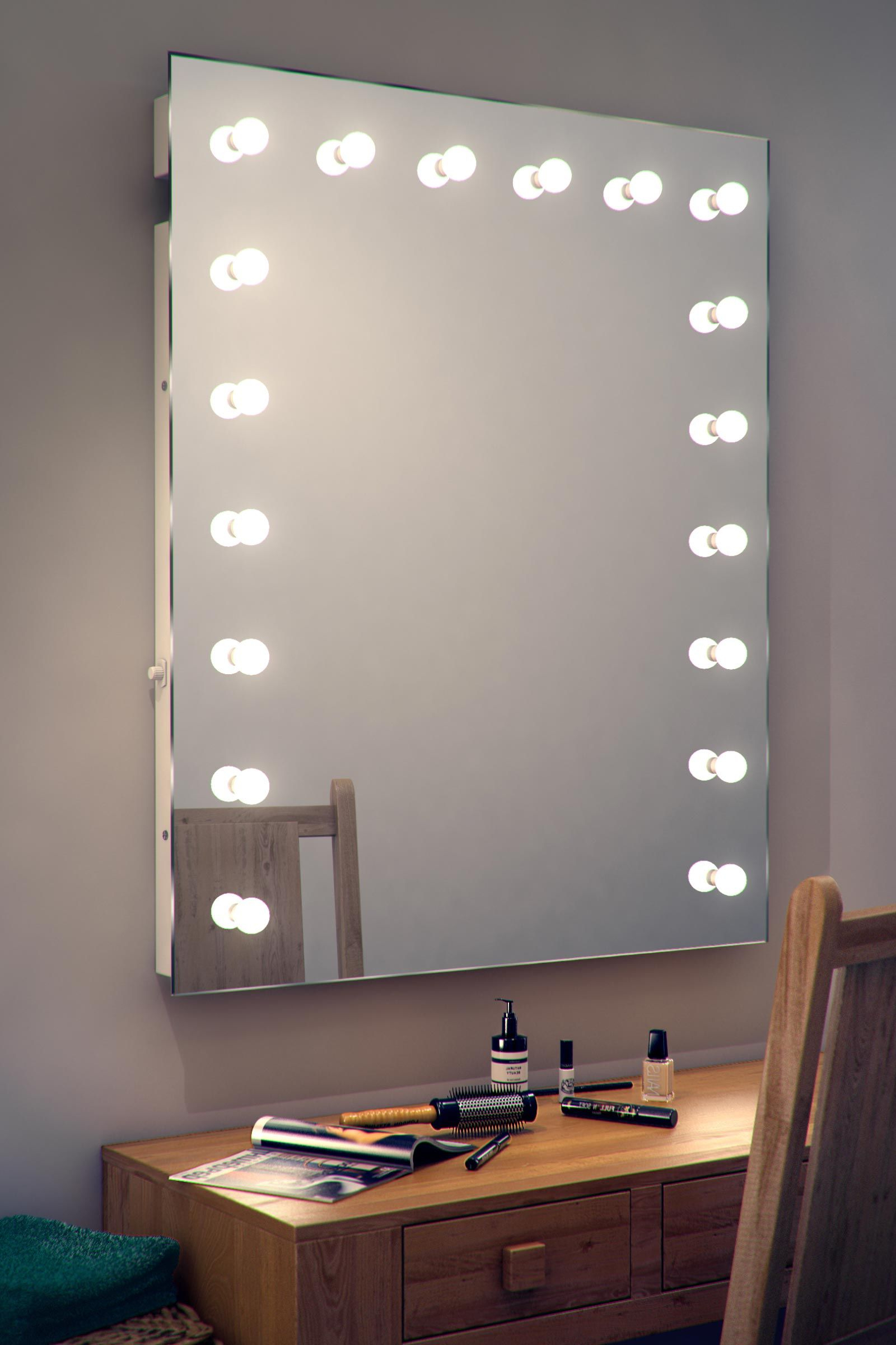 Details About Hollywood Makeup Dressing Room Mirror With Pertaining To Fashionable Make Up Wall Mirrors (View 12 of 20)