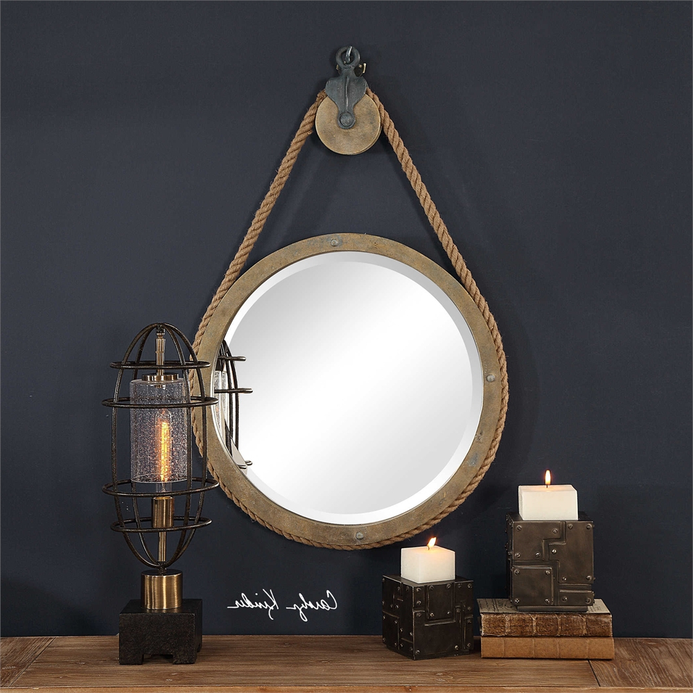 Details About Industrial Loft Round Rope Pulley Beveled Wall Mirror Rustic Farmhouse Art Decor Inside Well Liked Round Beveled Wall Mirrors (View 17 of 20)